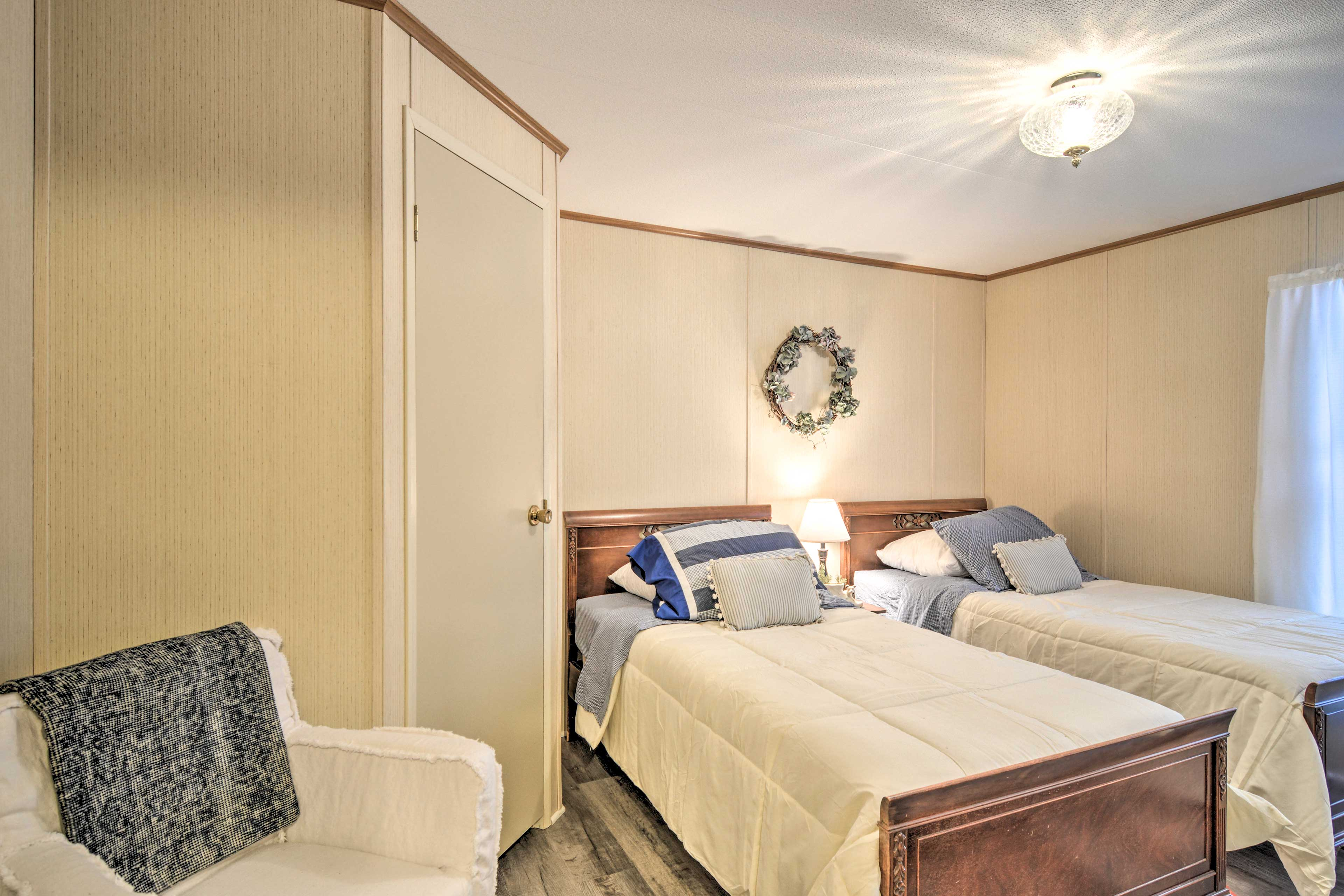 This room offers 2 twin beds, ideal for children.