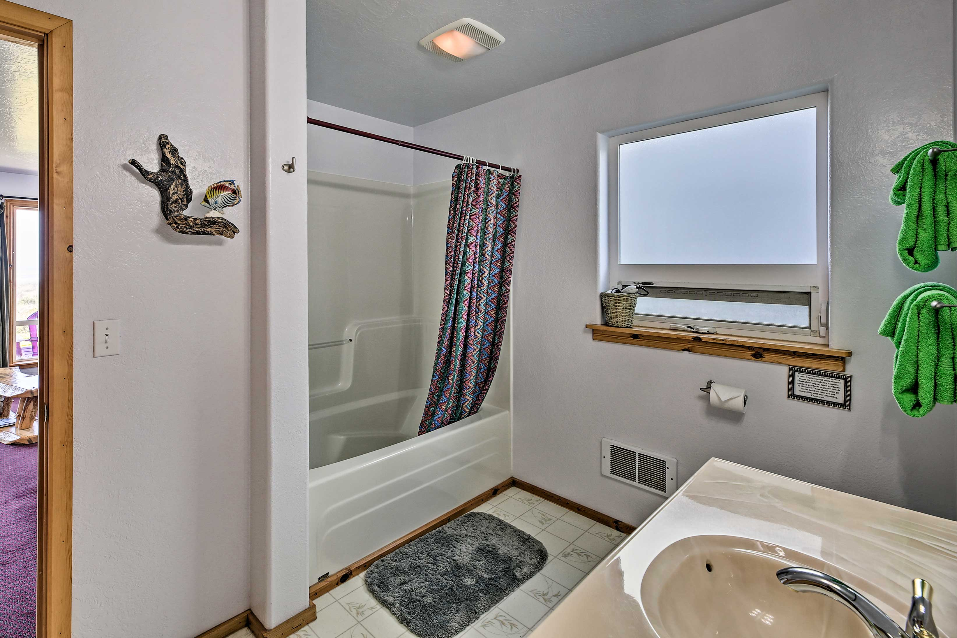 Take a long bath in the shower/tub combo.