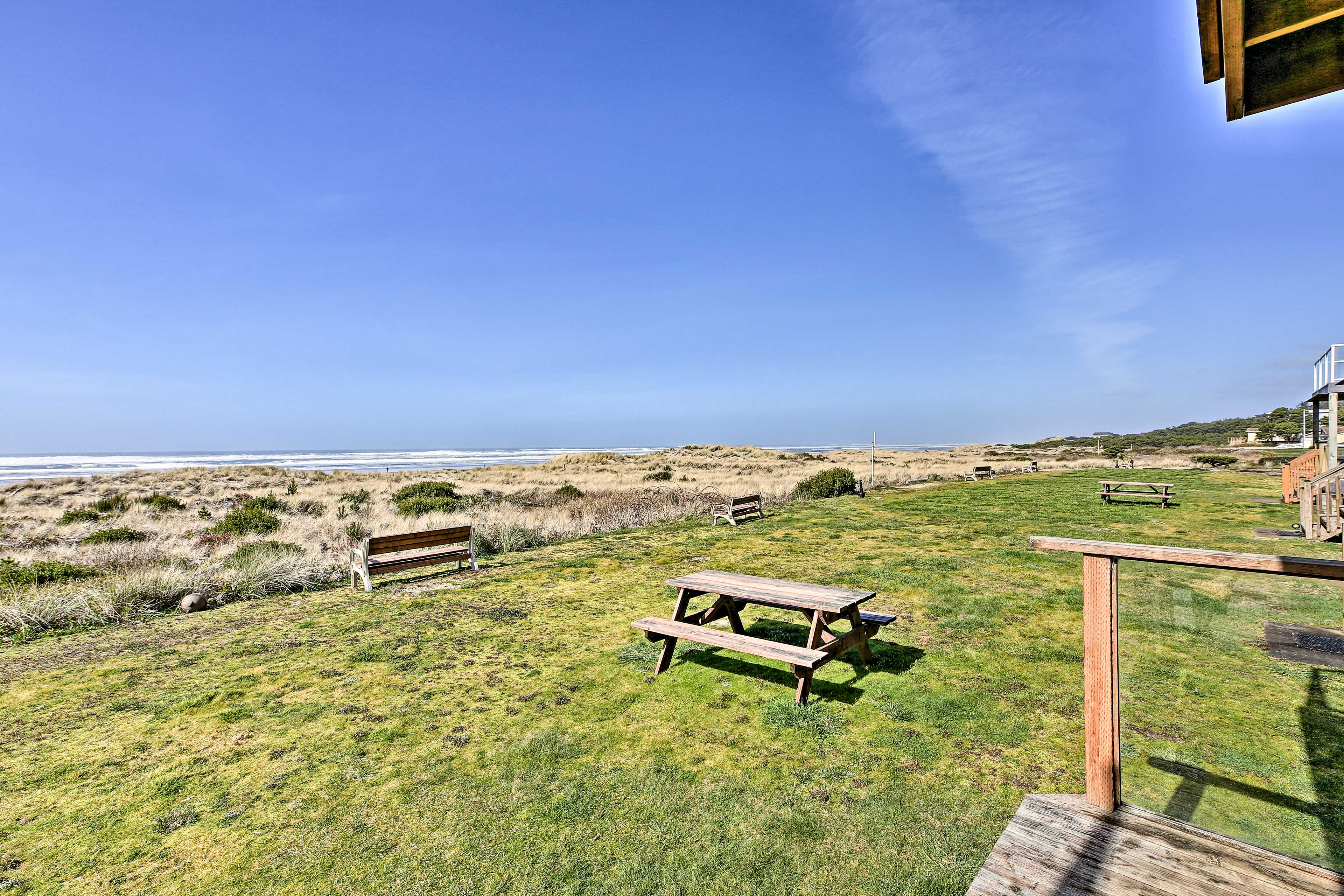 Bring lunch out to the picnic table while enjoying the sea view.
