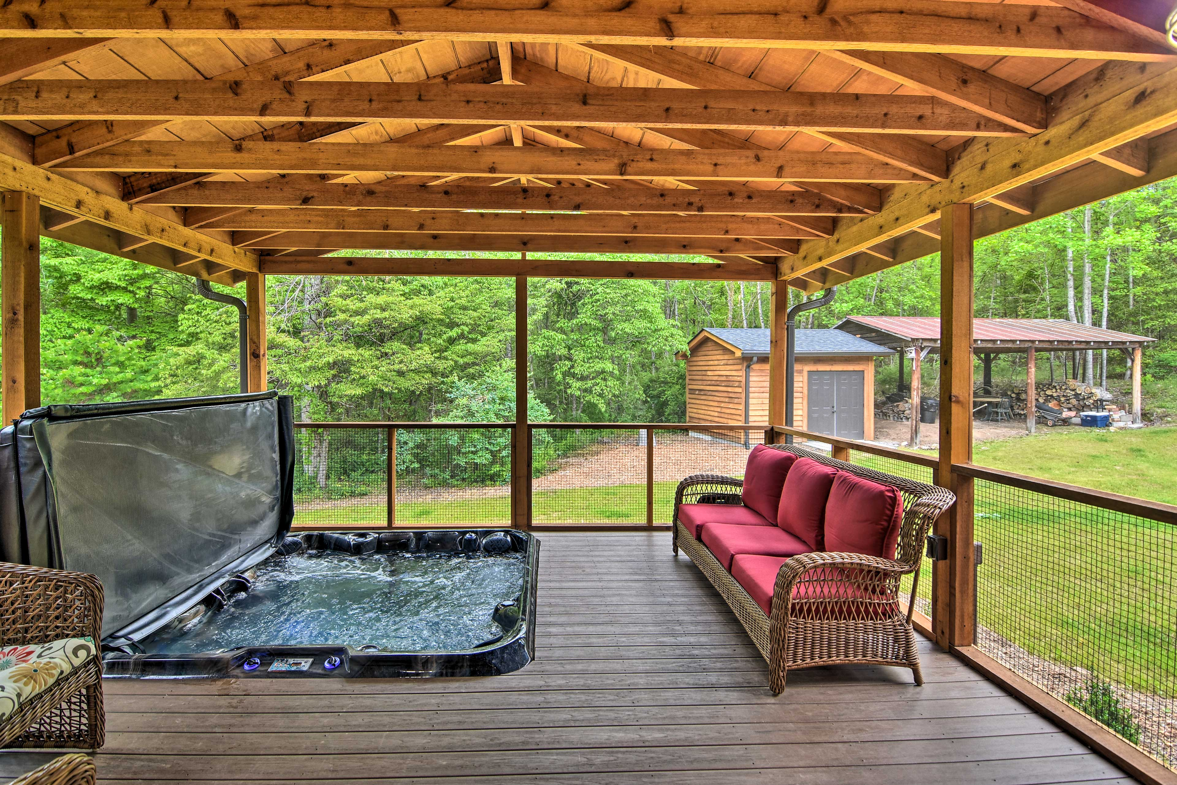 This porch offers a luxurious spa.
