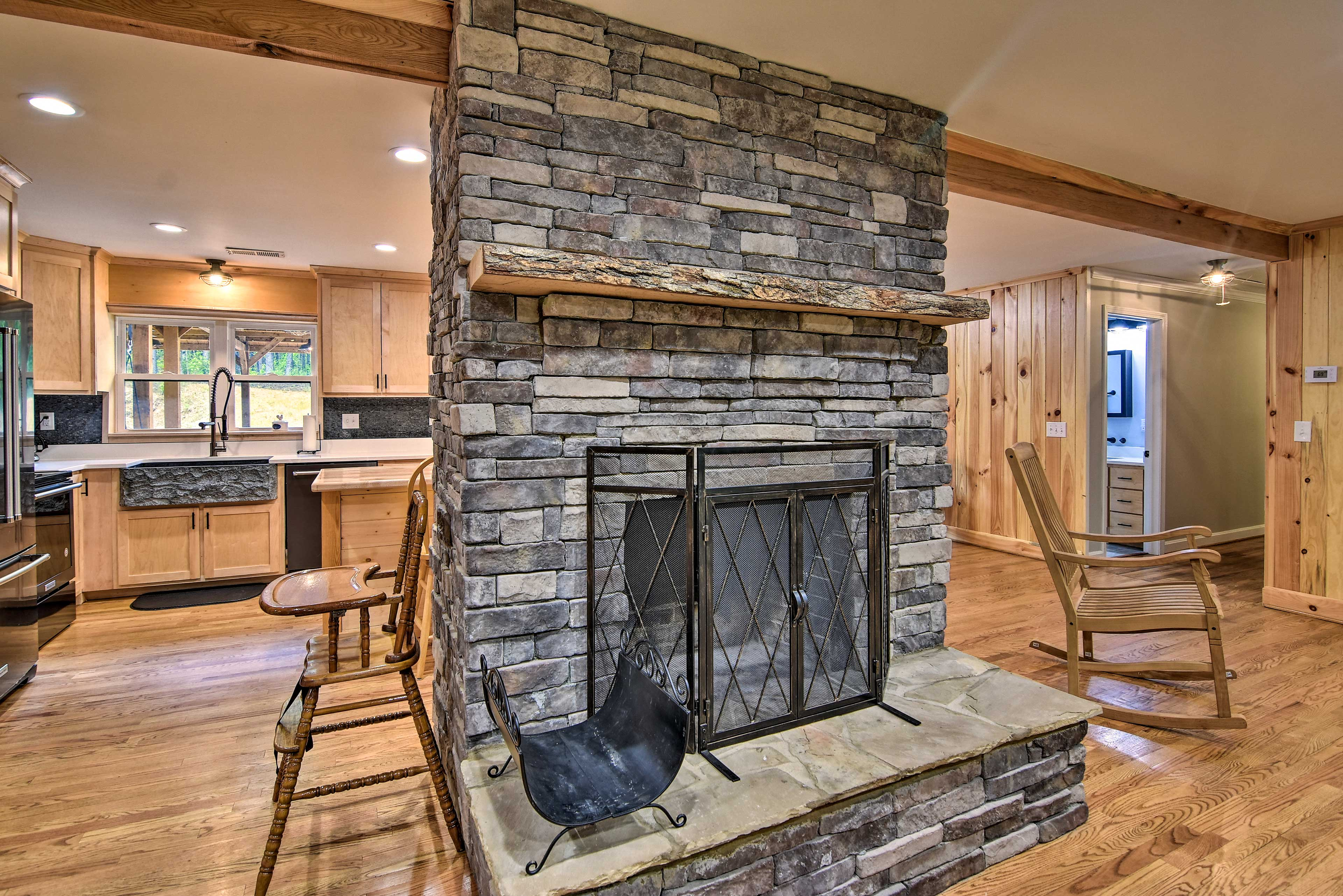 Cozy up next to this gorgeous fireplace!