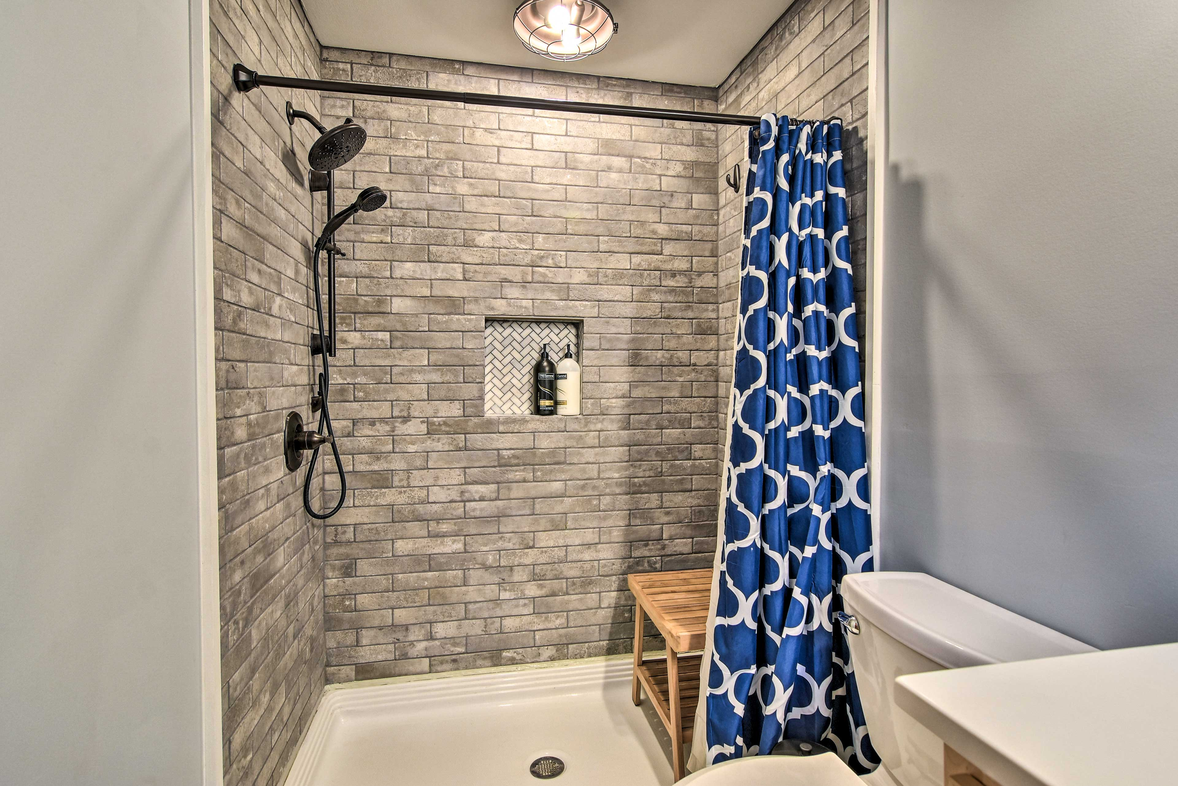 Walk-in showers accommodate all travelers.