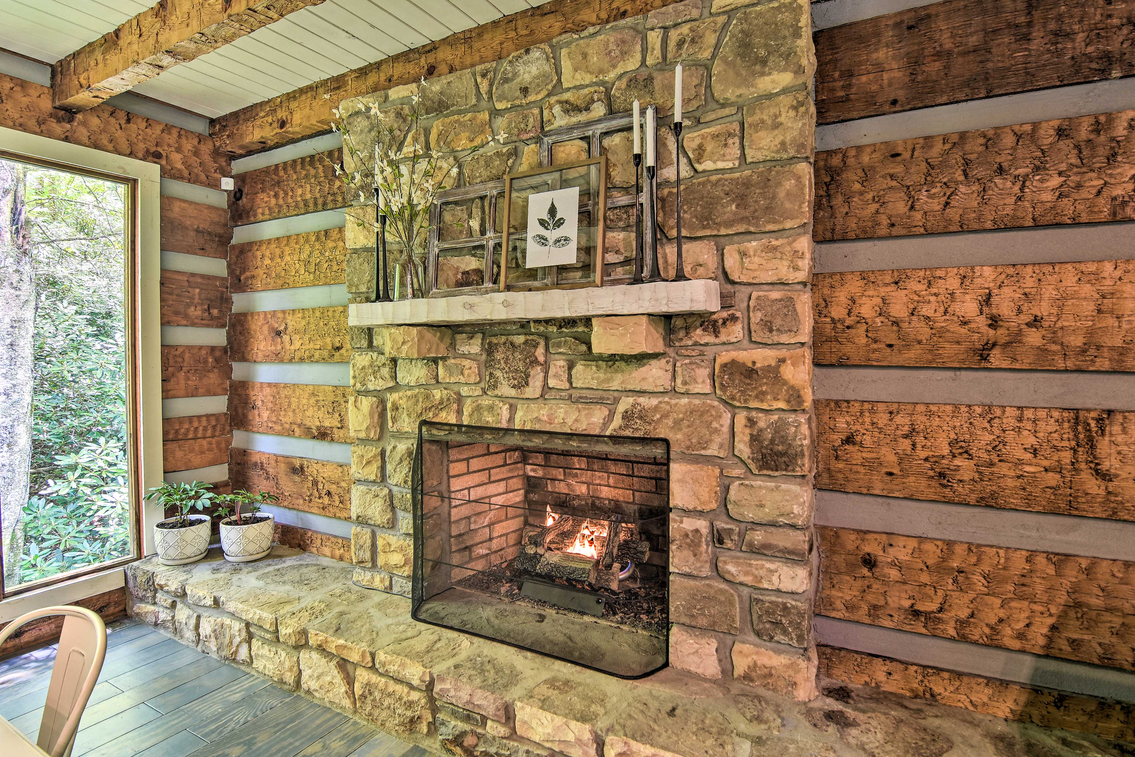 You'll love warming up by the gas fireplace.