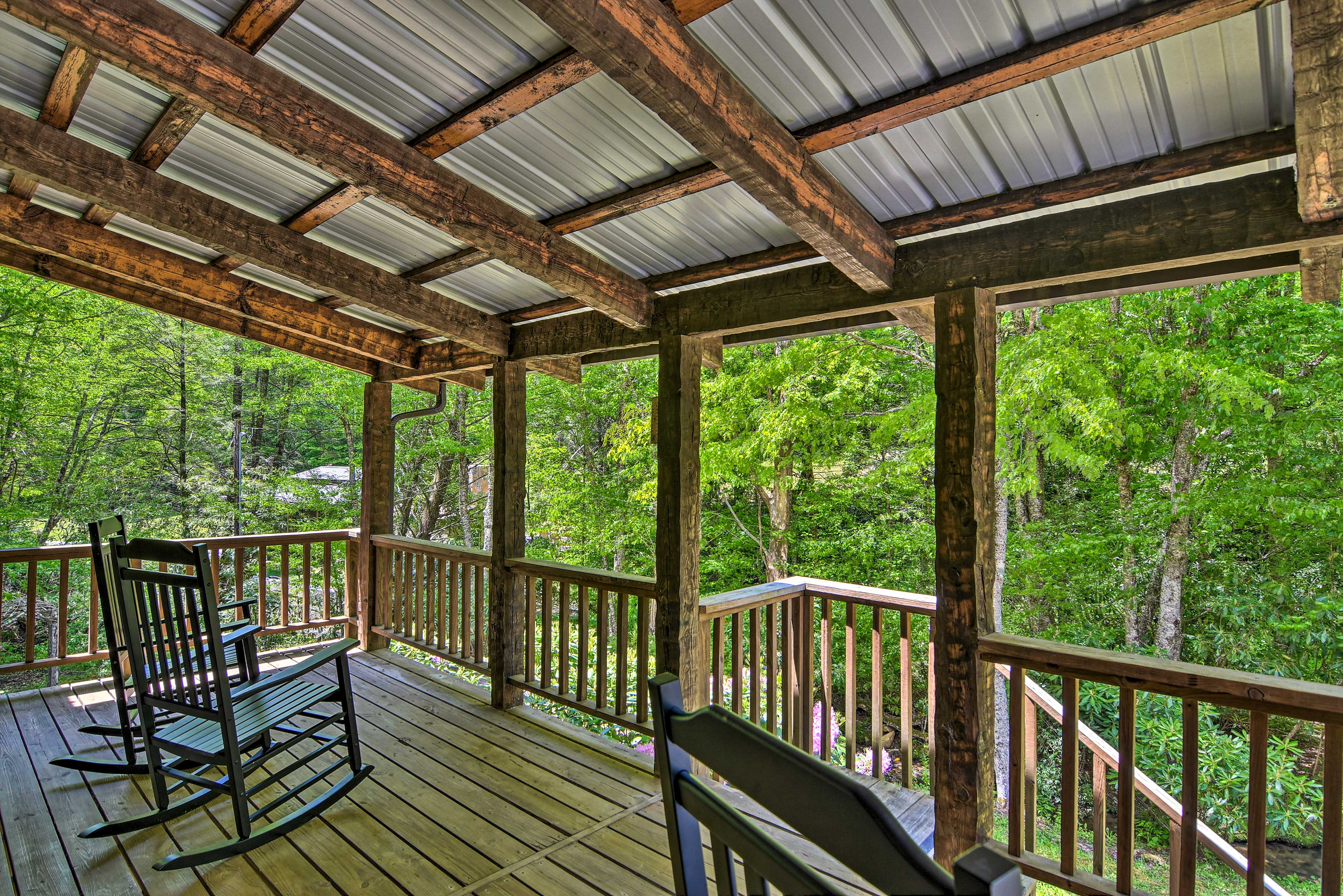 Bring your morning cup of joe out to the private deck.