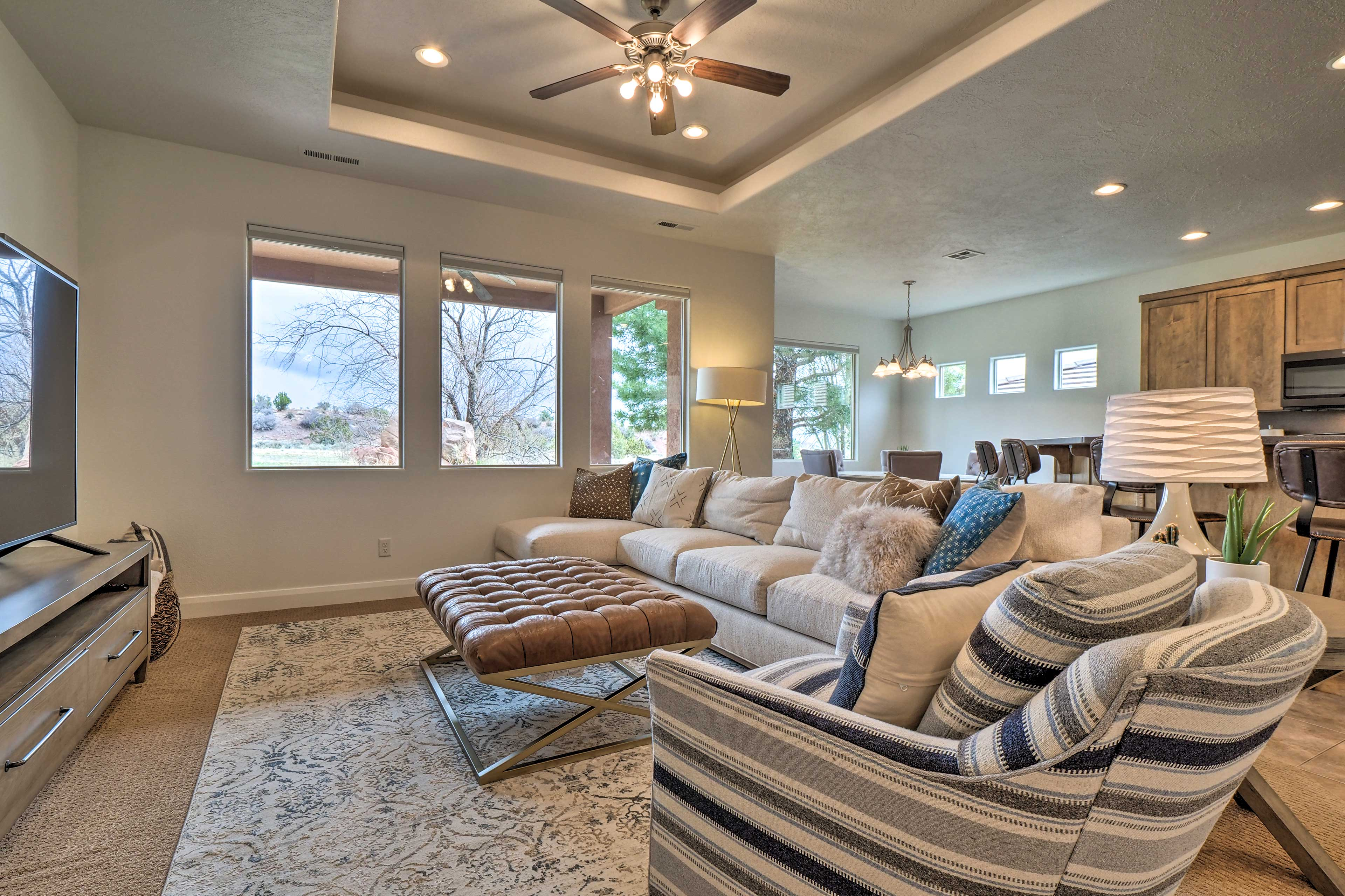 The living area hosts cozy furnishings.