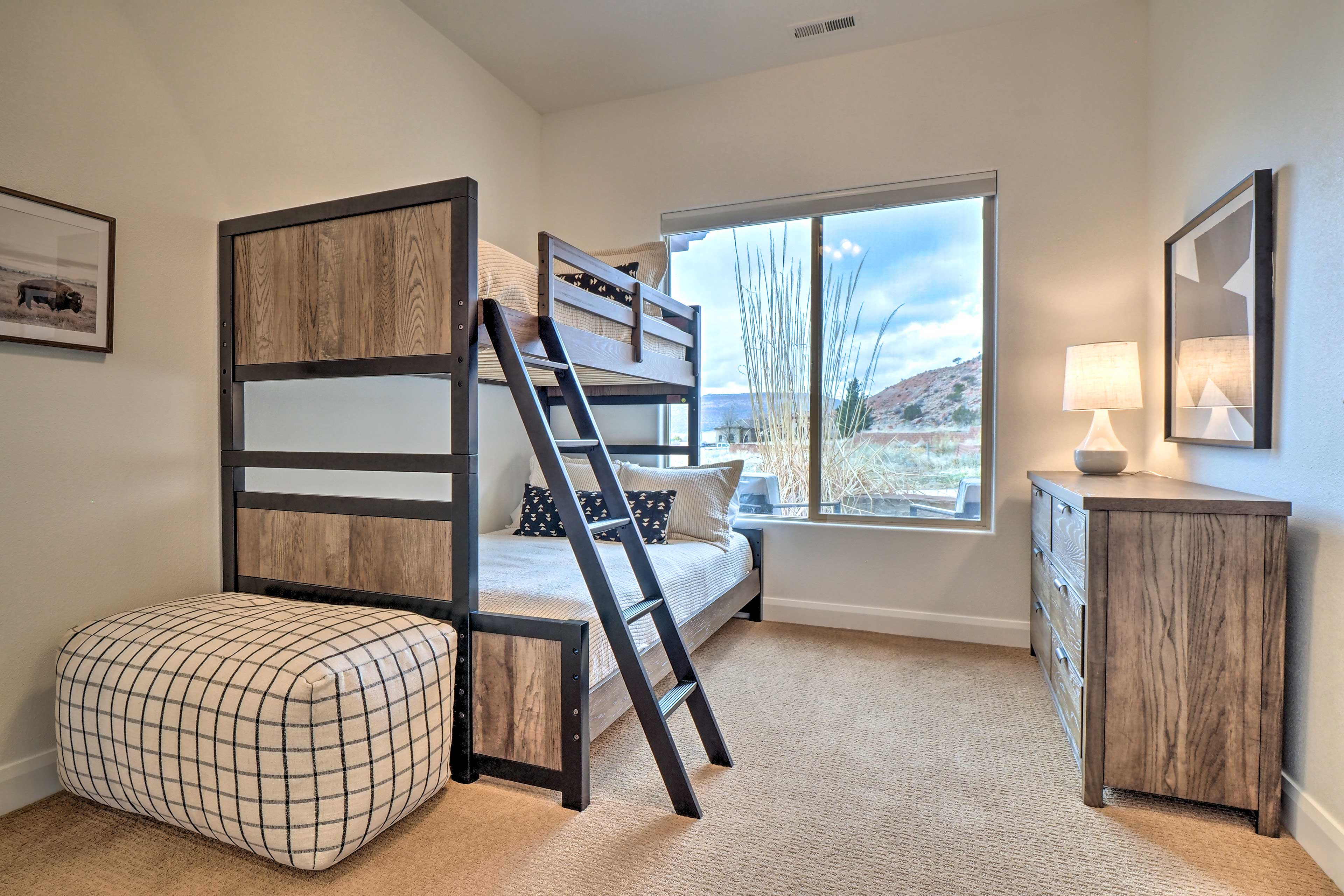 A third bedroom is home to a twin/full bunk bed.