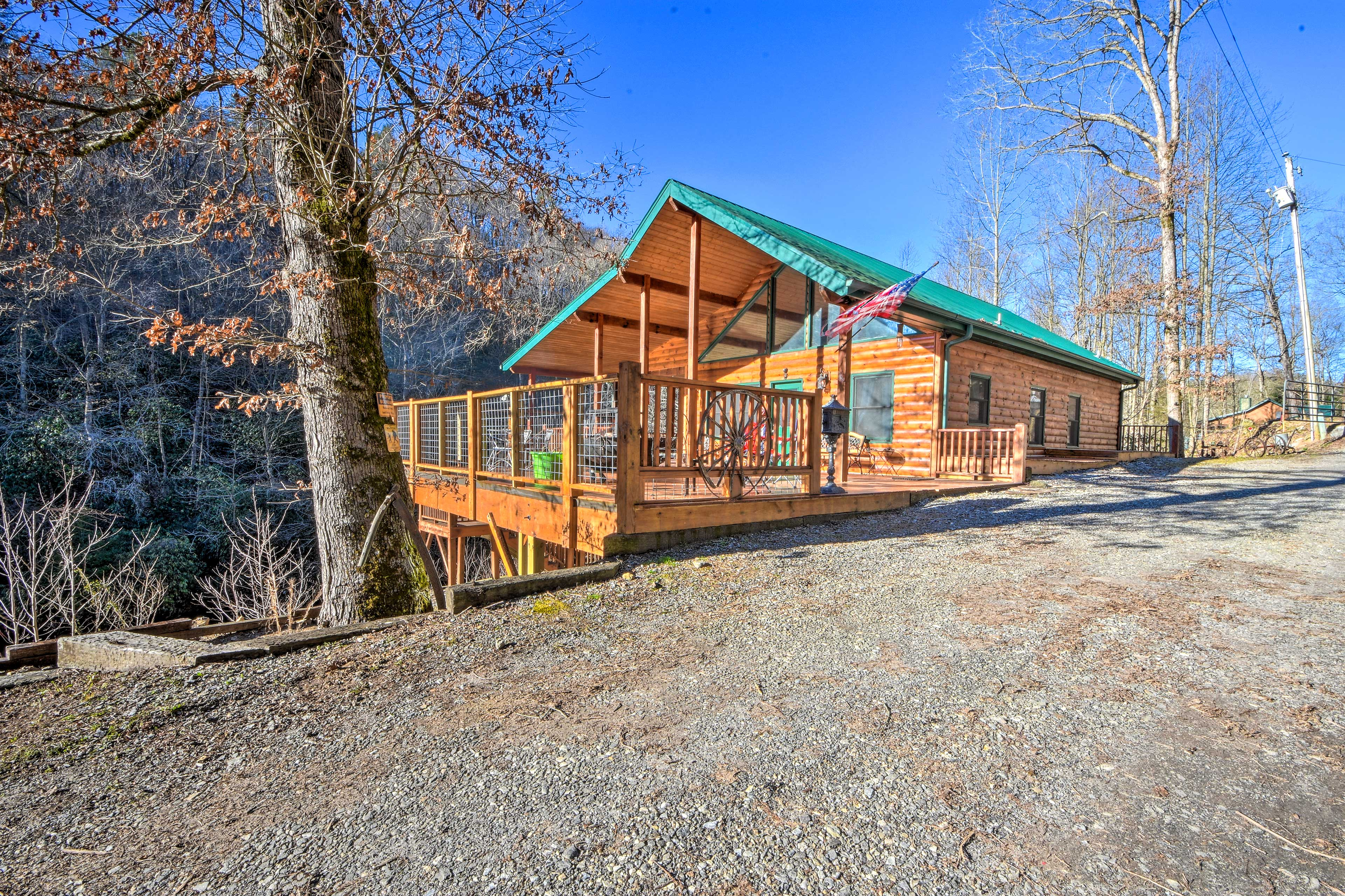 The vacation rental sits right on the banks of cascading river.