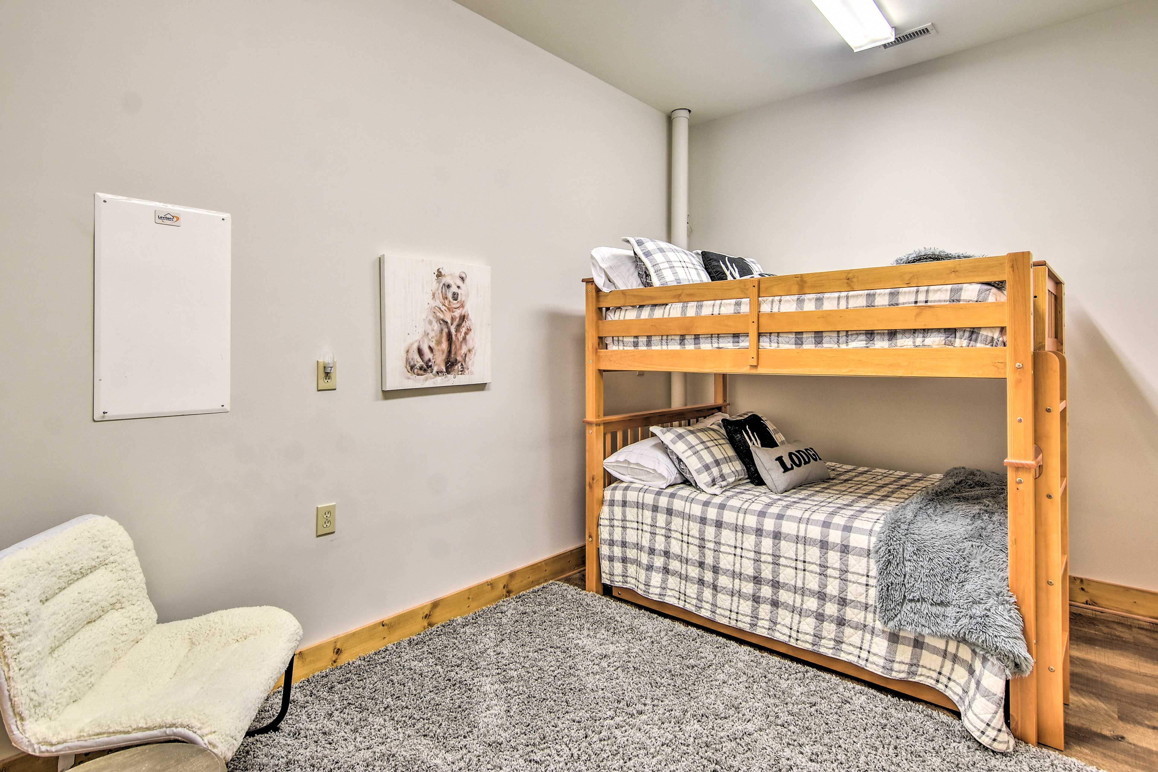 Kids will love claiming this full-sized bunk bed as their own!