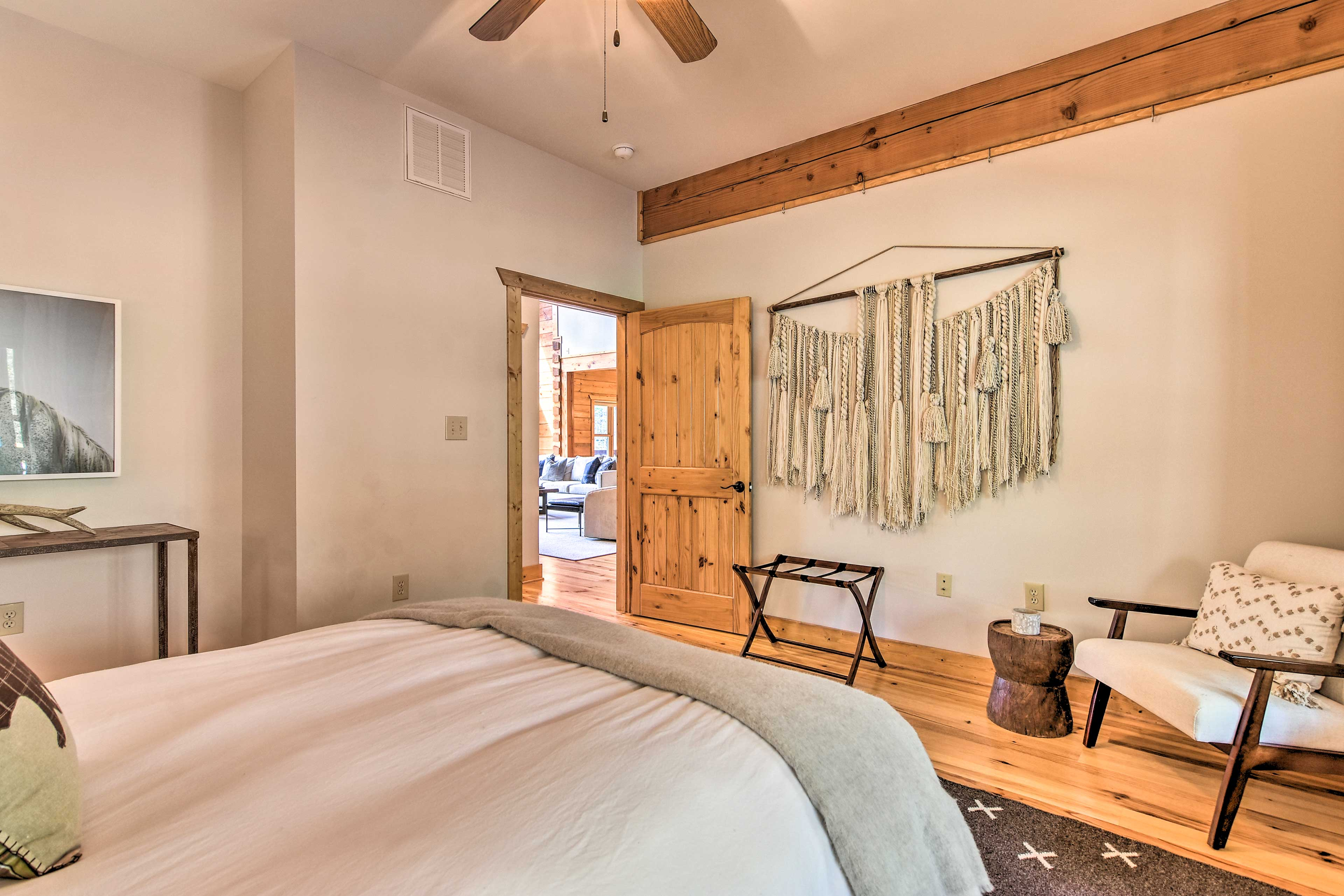 The first-floor bedroom offers a comfortable resting spot for 2.