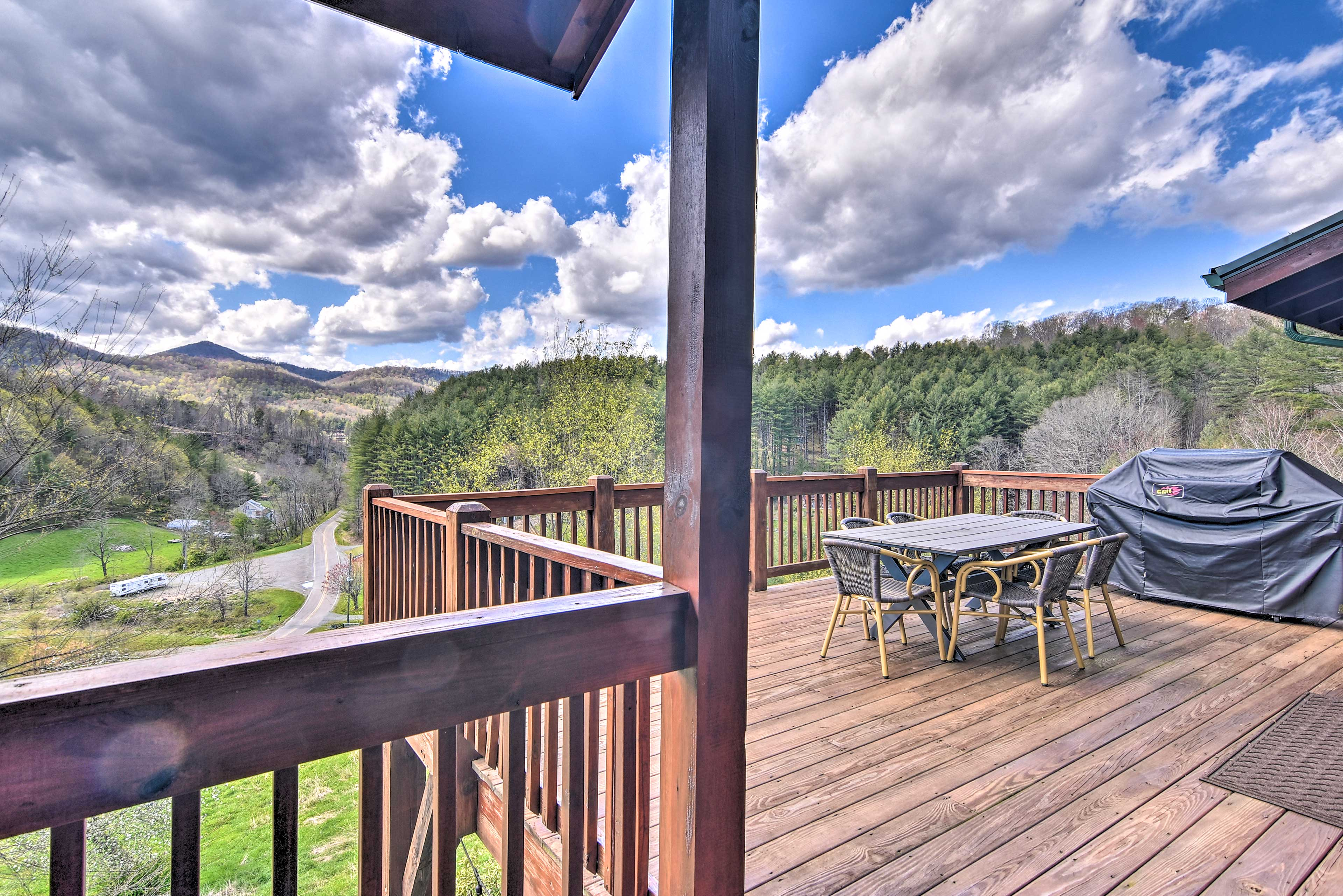 The spacious wraparound deck provides the perfect place to gather.