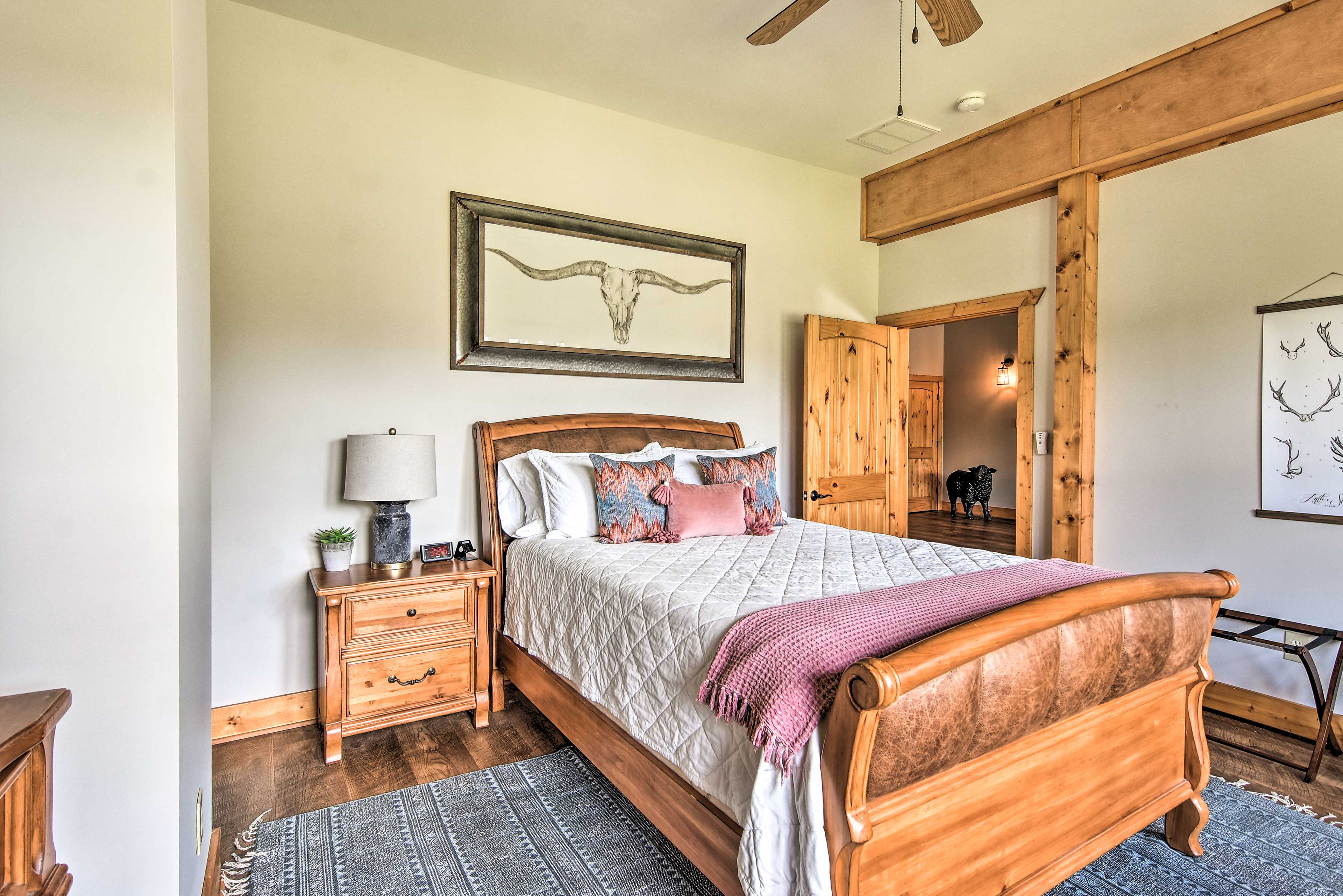 This lower-level bedroom boasts a queen bed fit for 2.