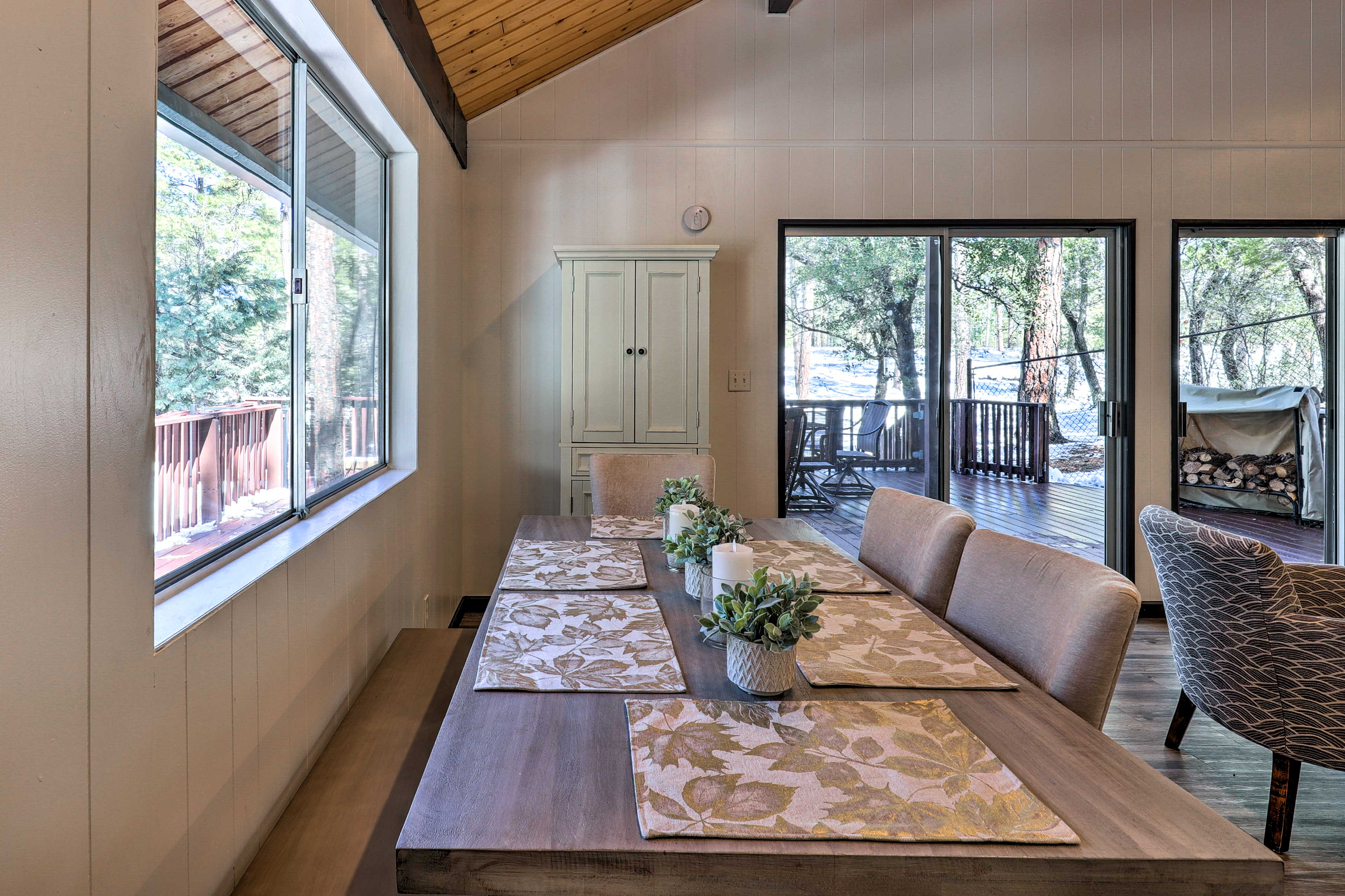 Take in nature views out the large picture windows.