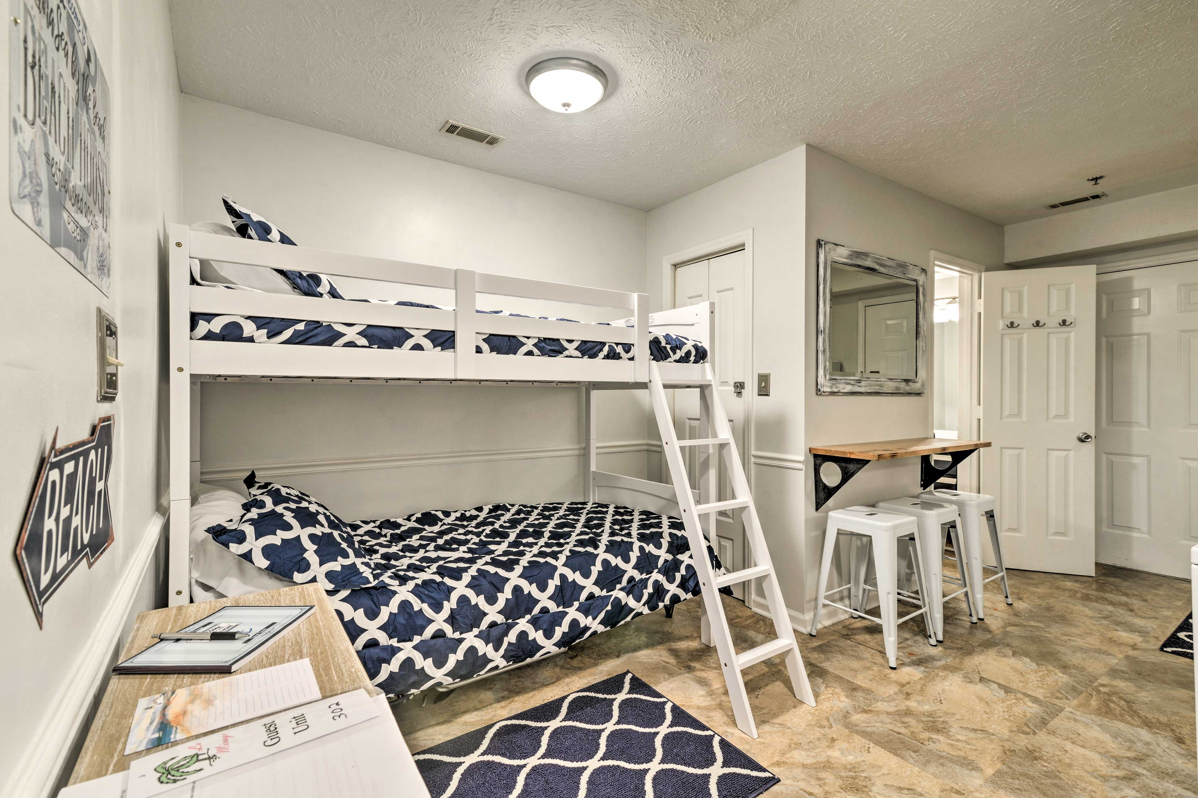 Climb into the twin/full bunk bed and get some shut eye in the family room.