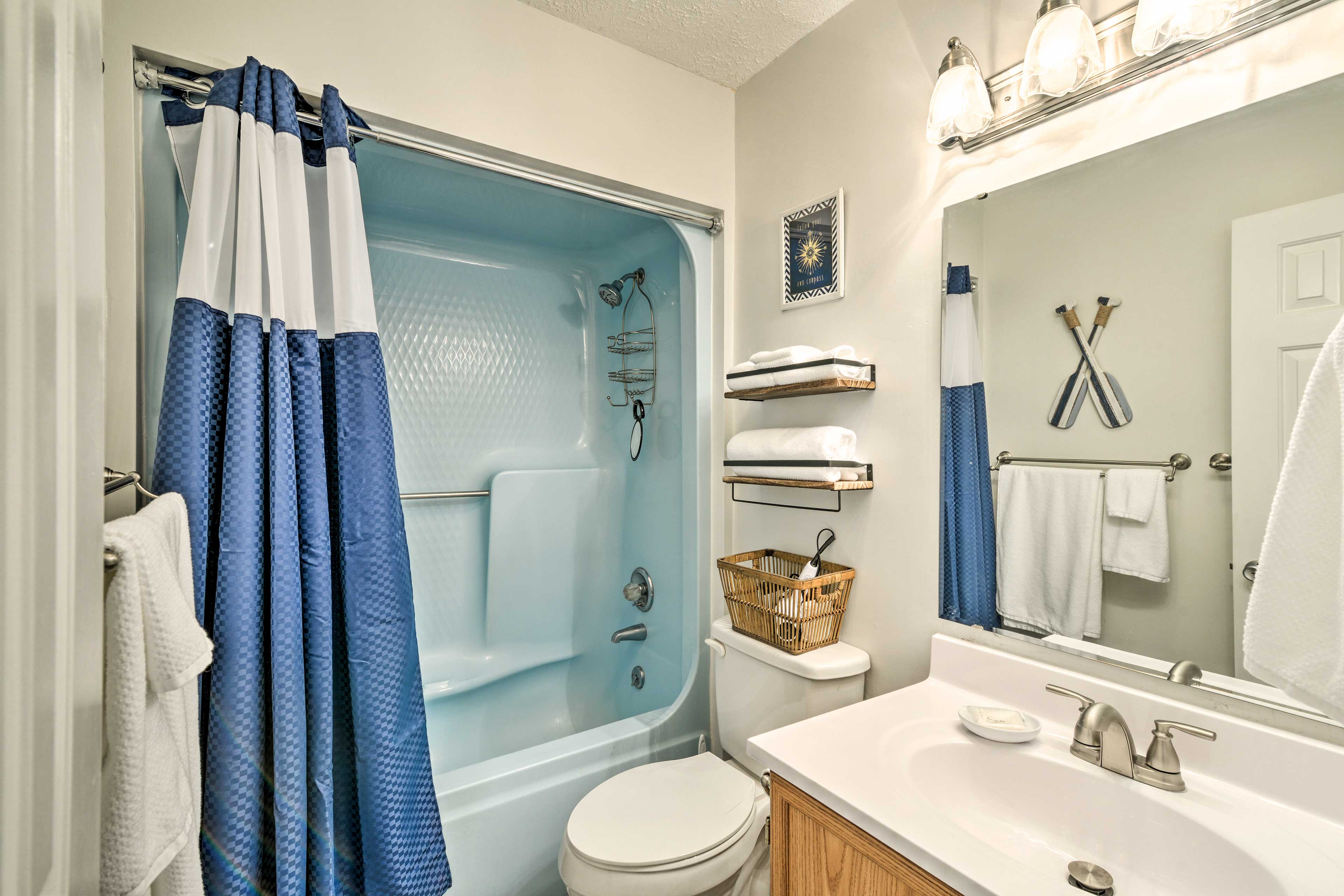 Rinse the saltwater out of your hair in the shower/tub combo of the first bath.