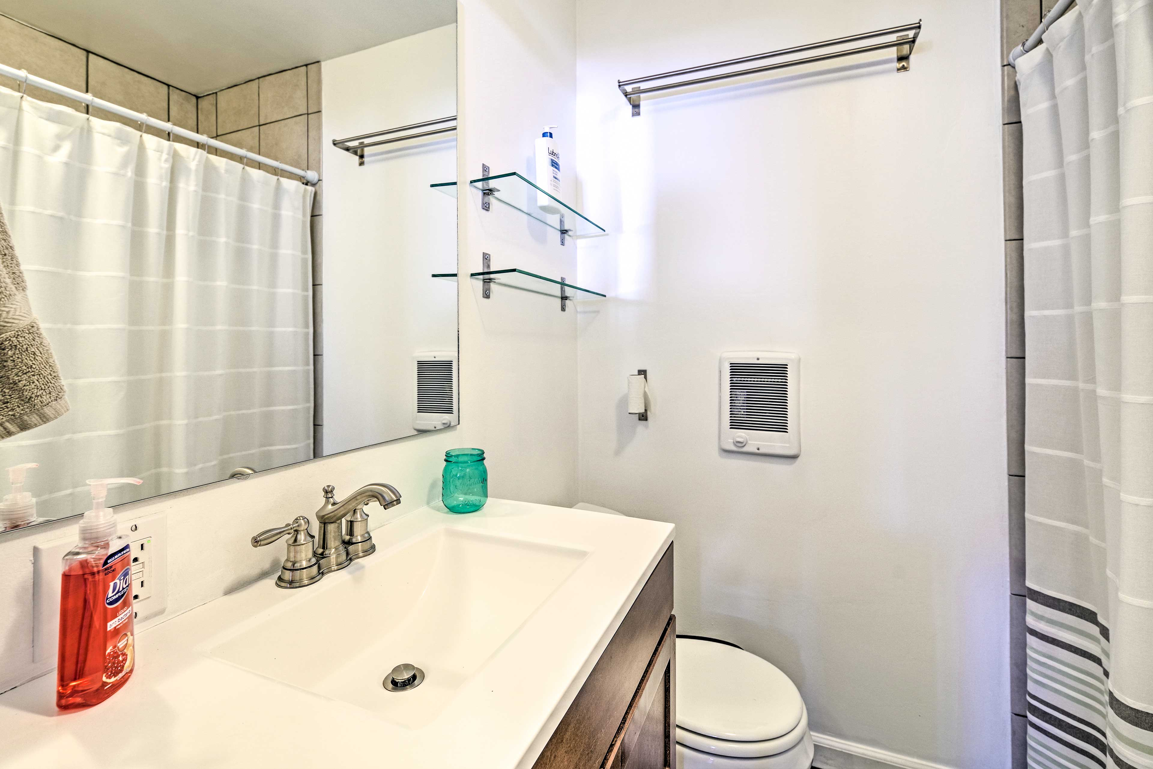 The second full bath is complete with a shower/tub combo.