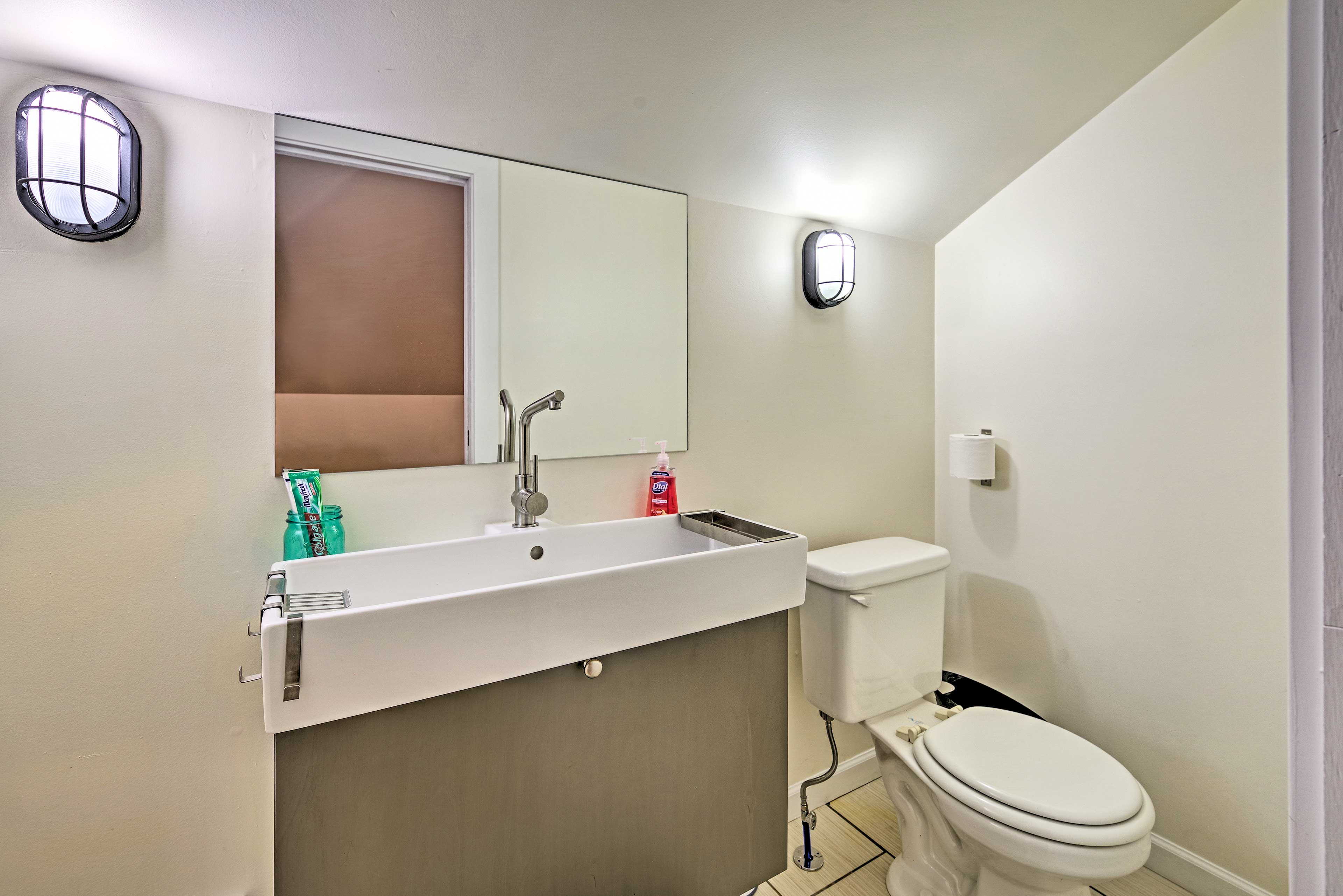 Freshen up before dinner in the upstairs half bathroom.