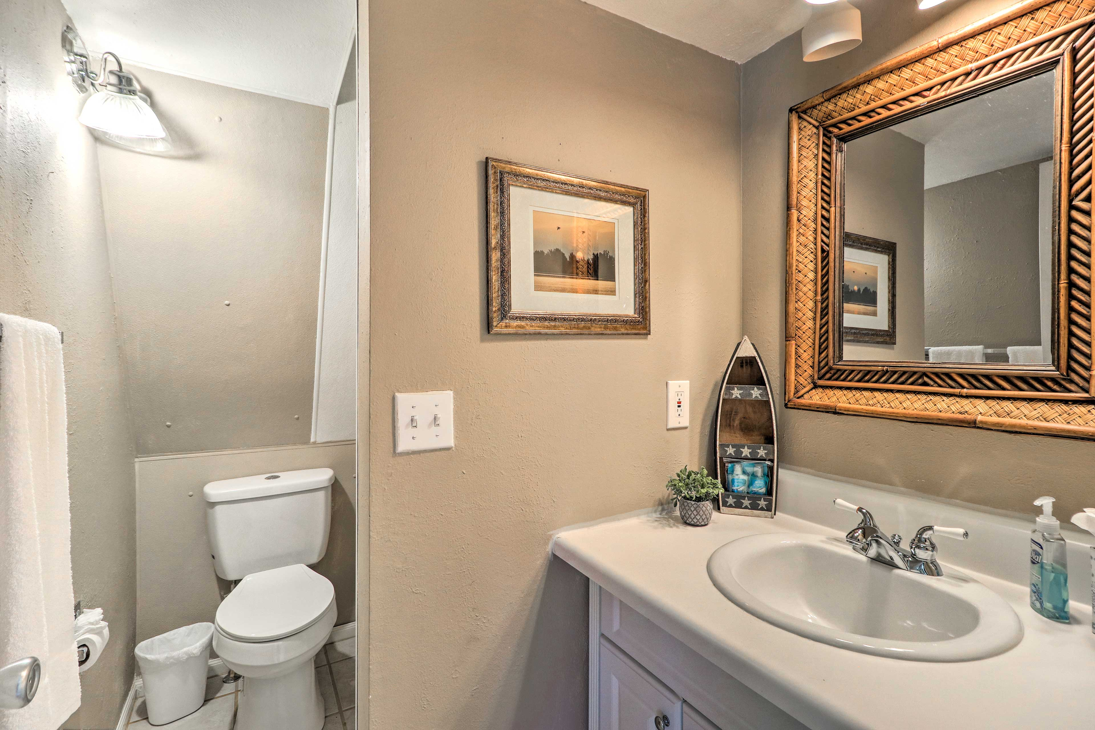 Get ready for the day in this charming bathroom.