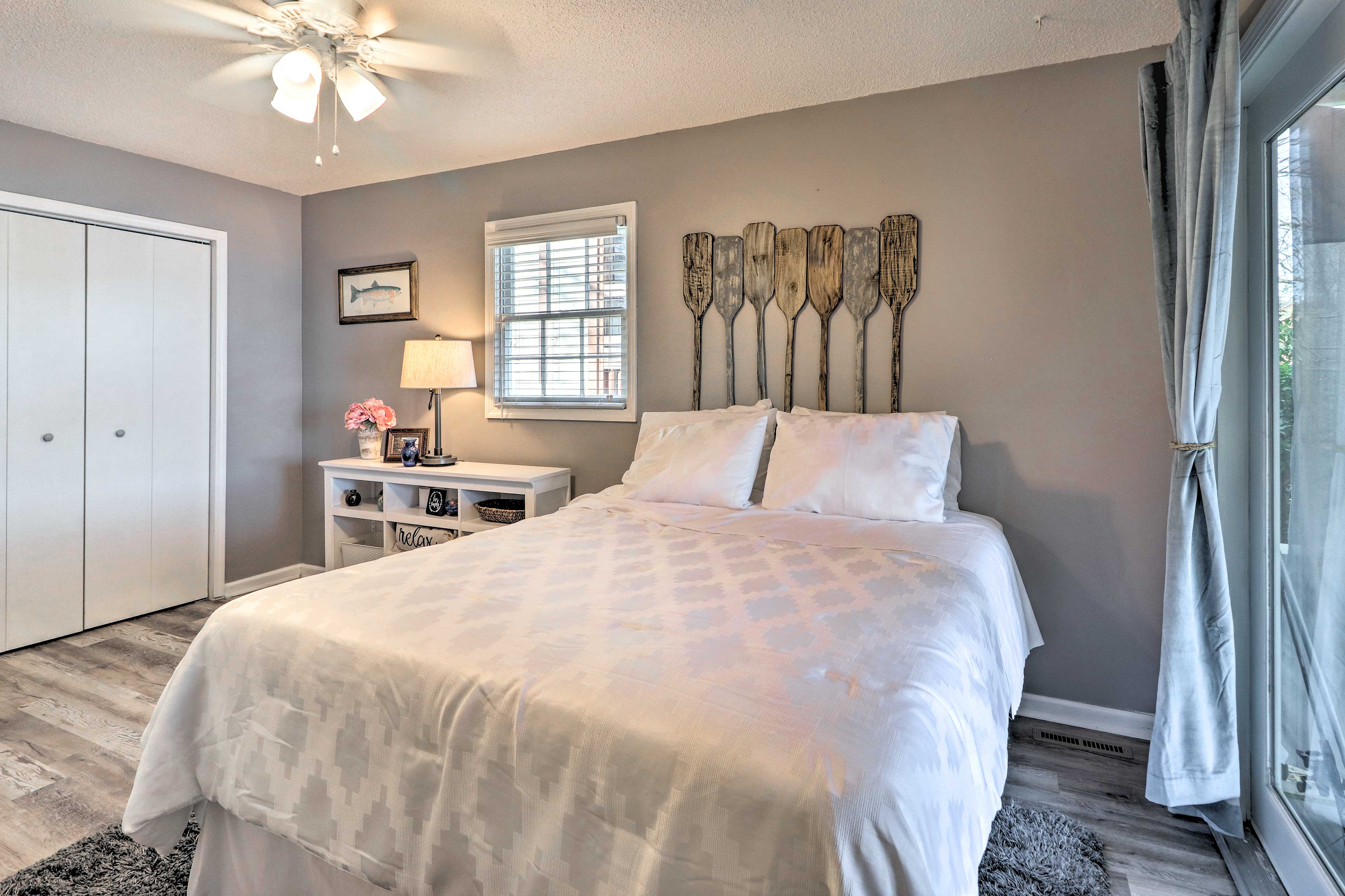 The master bedroom features a queen bed with space for 2.
