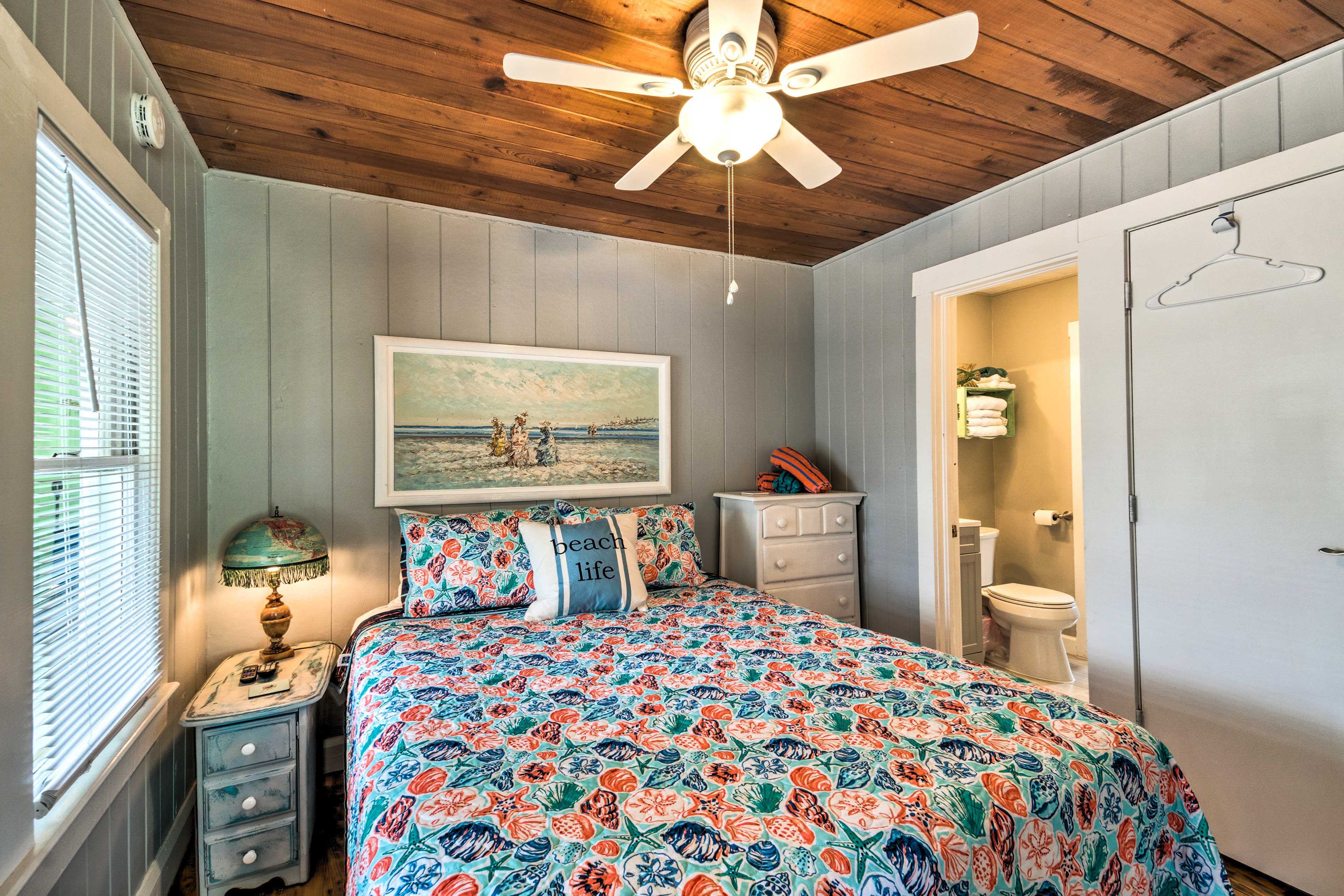 Retire to the master bedroom for a good night's sleep.