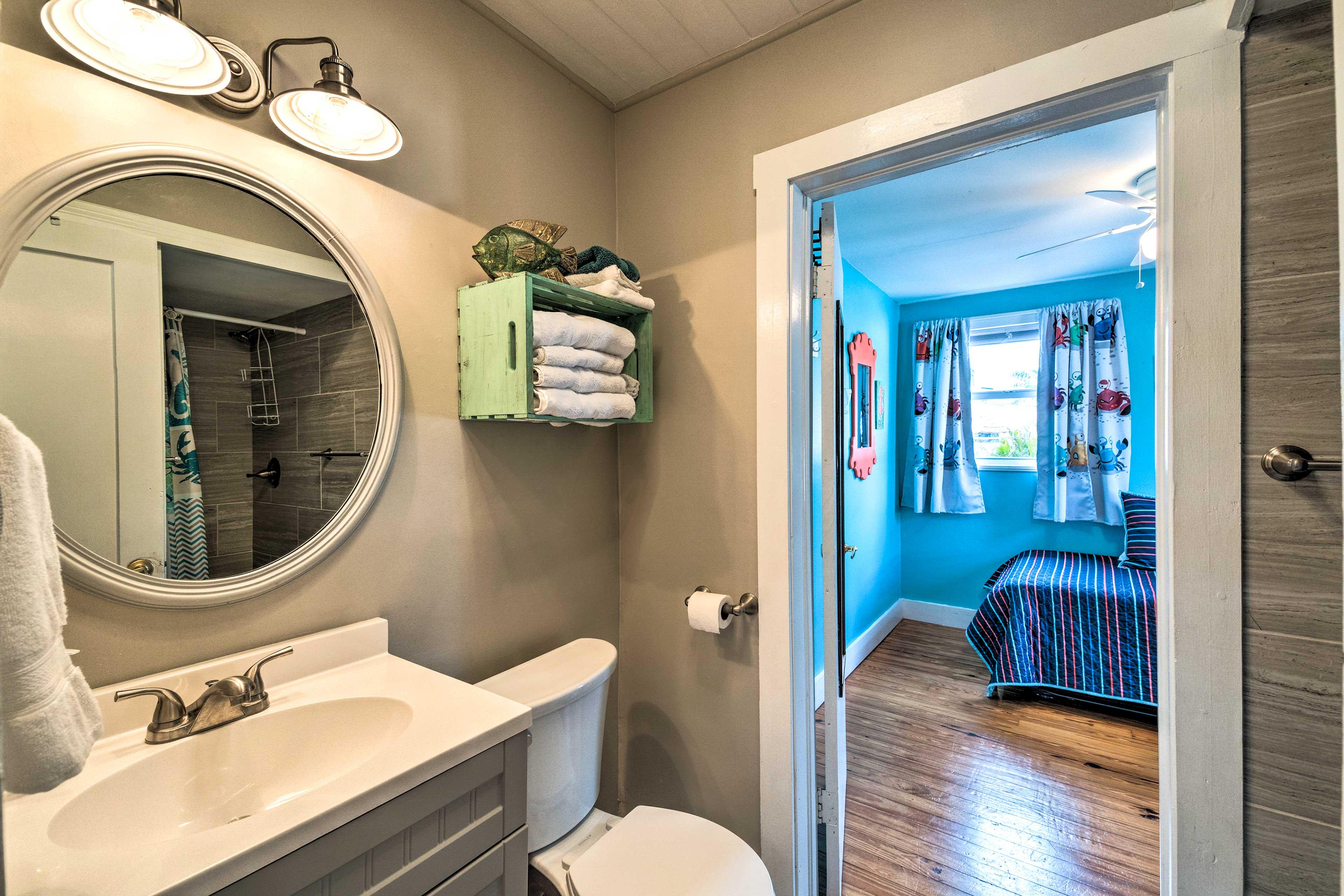 Freshen up in the shared en-suite bathroom.