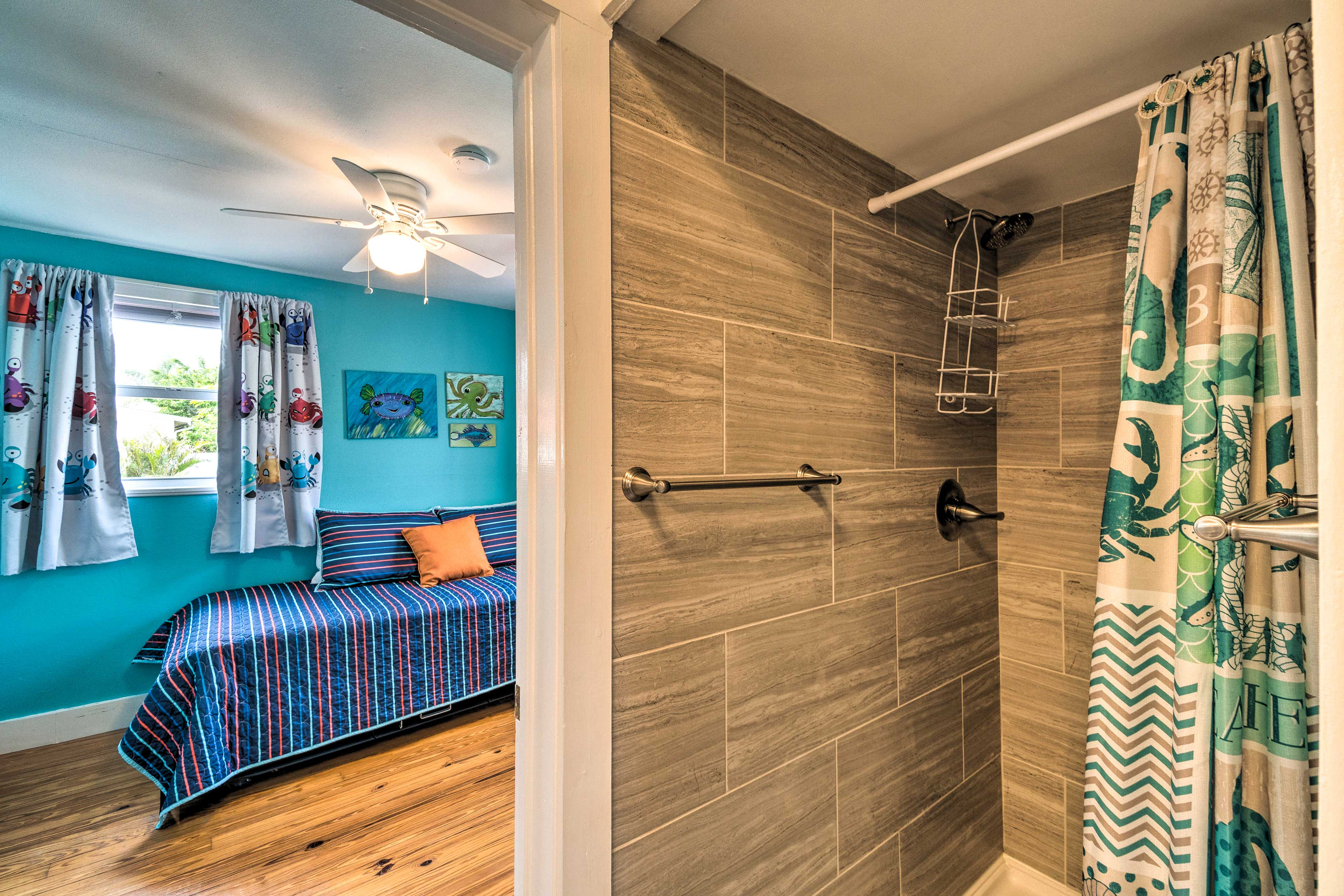 Take a shower and rinse off all the sand and saltwater from the beach.
