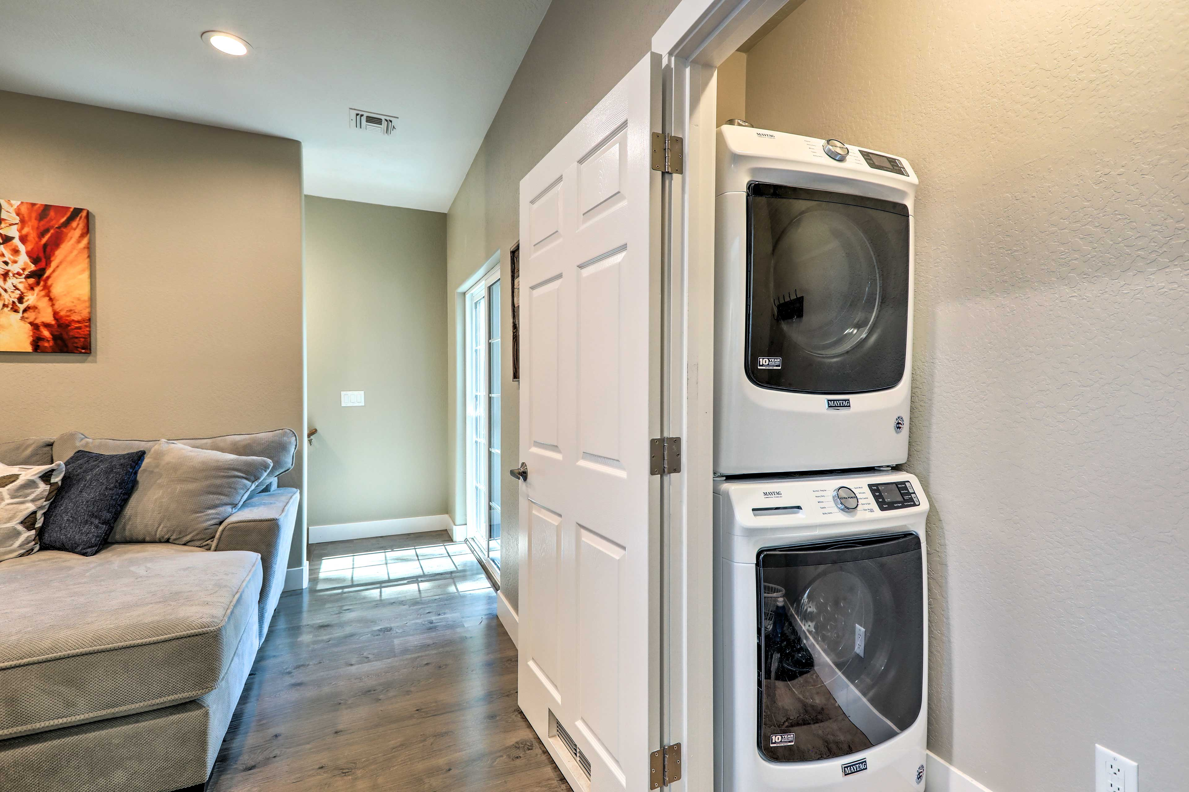 A washer and dryer make for a hassle-free stay!