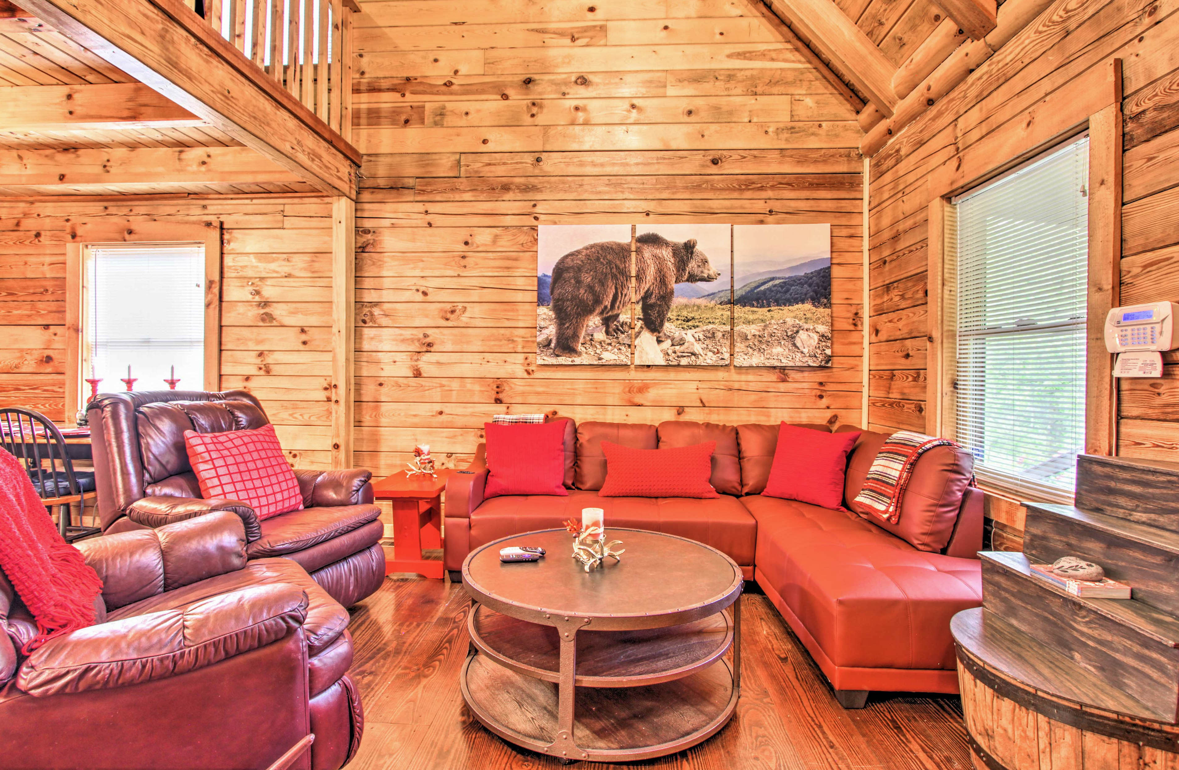 Inside you'll find rustic interior design and hardwood floors.