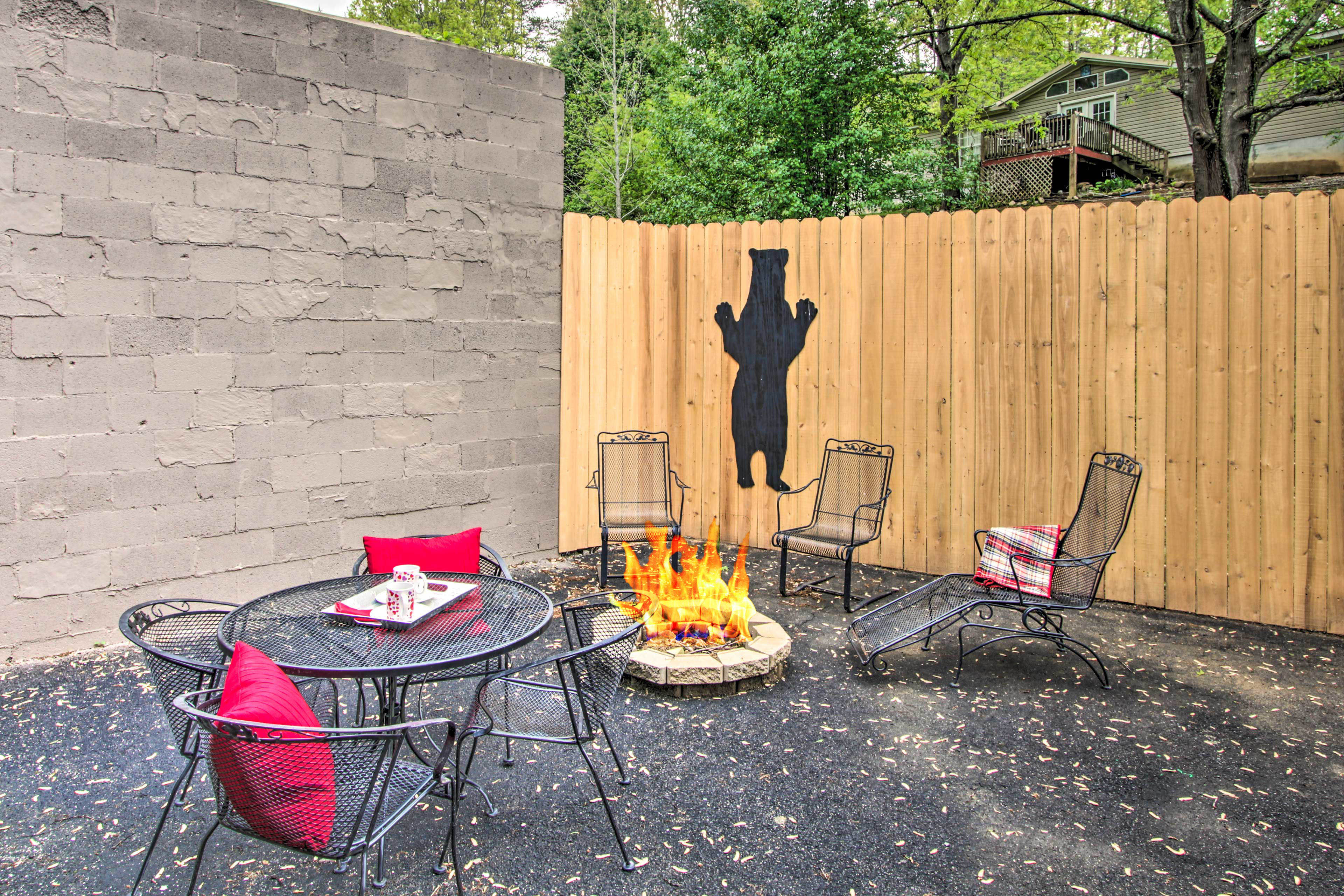 Enjoy a meal from the gas grill or roast s'mores around the fire pit!