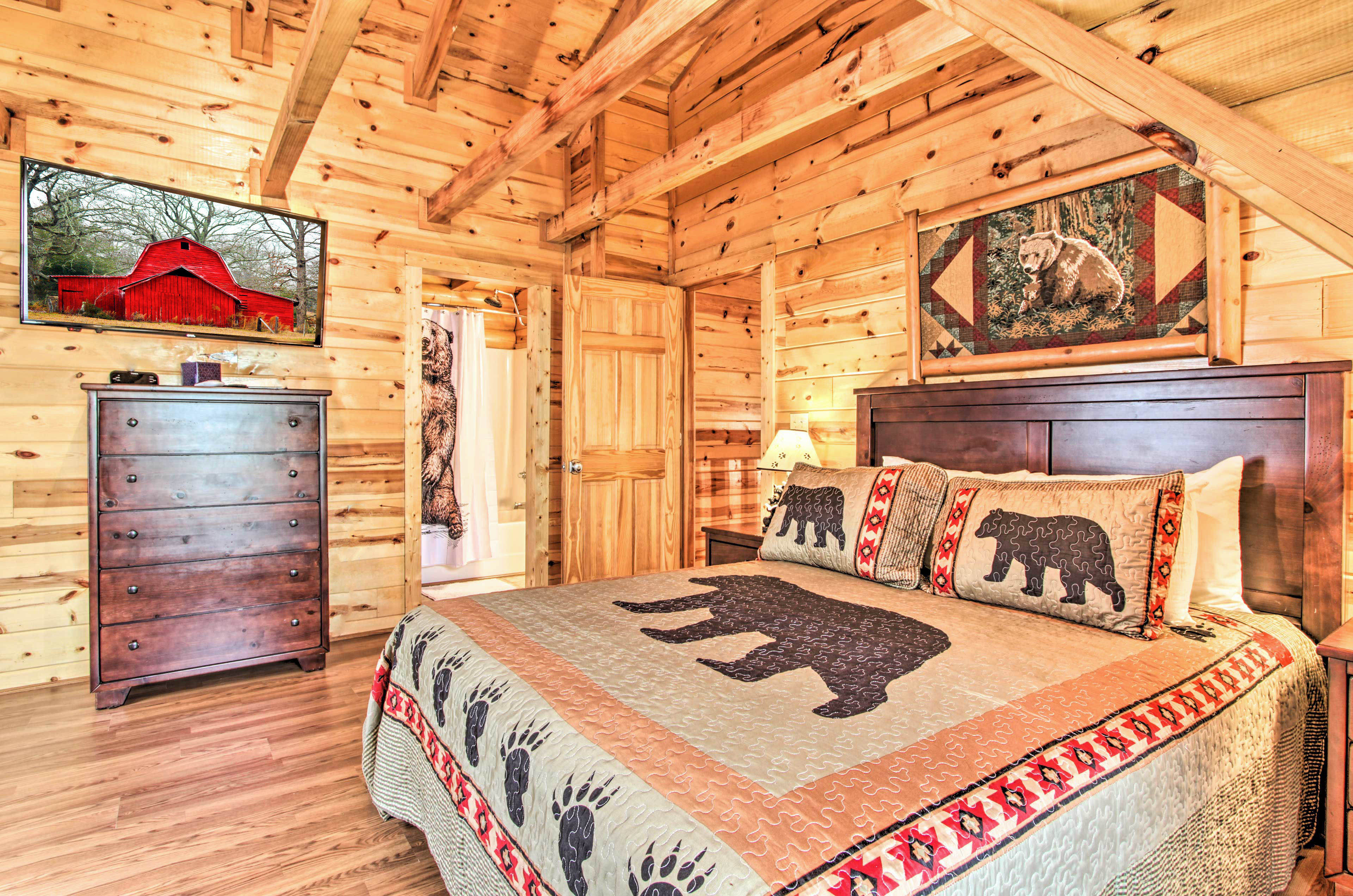 This room features a flat-screen TV, king bed, and en-suite bathroom.