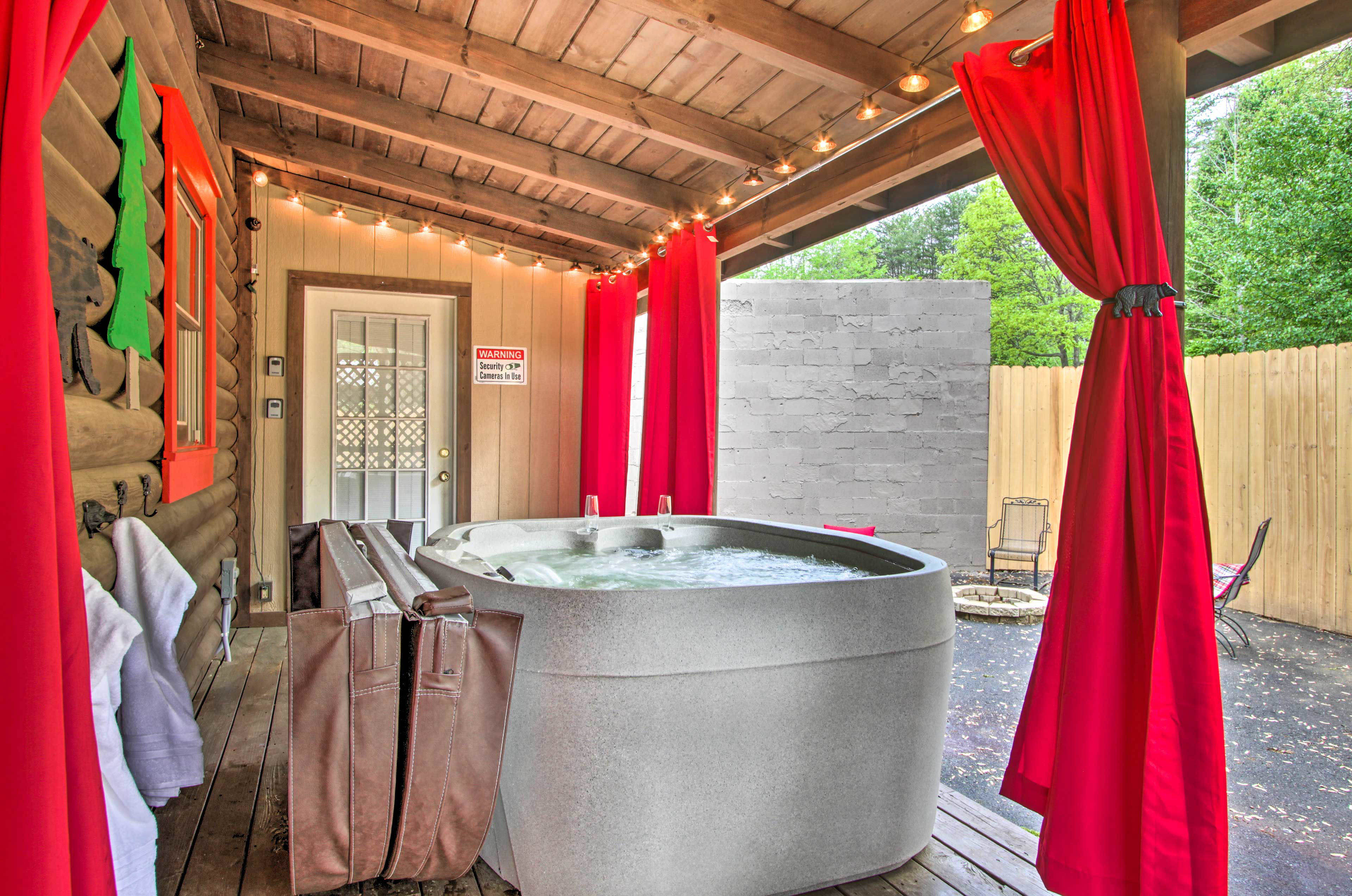 Head outside to enjoy amenities including a hot tub.