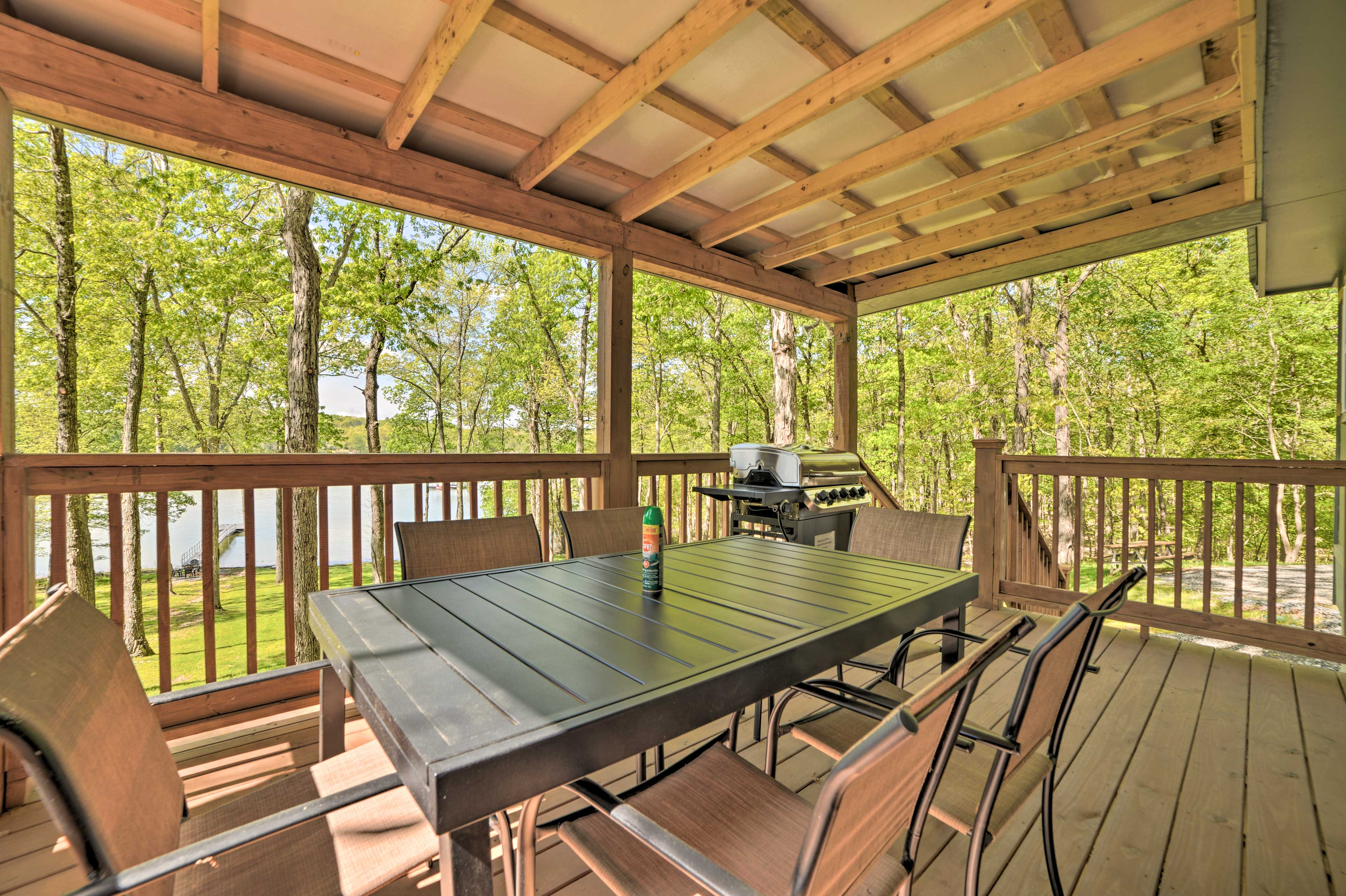 Enjoy waterfront views from the deck.