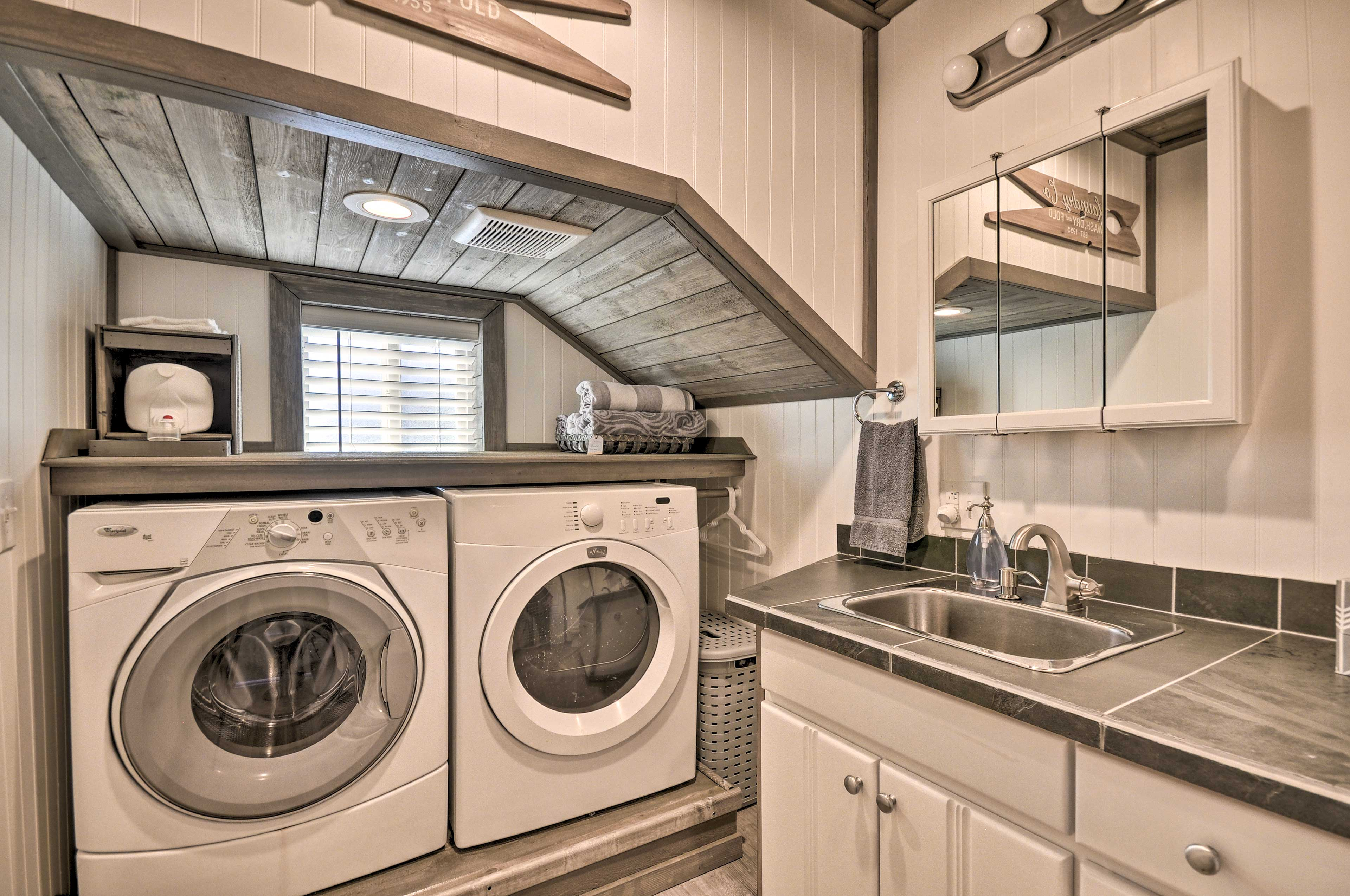 Keep your belongings fresh and clean with the in-home washer and dryer.
