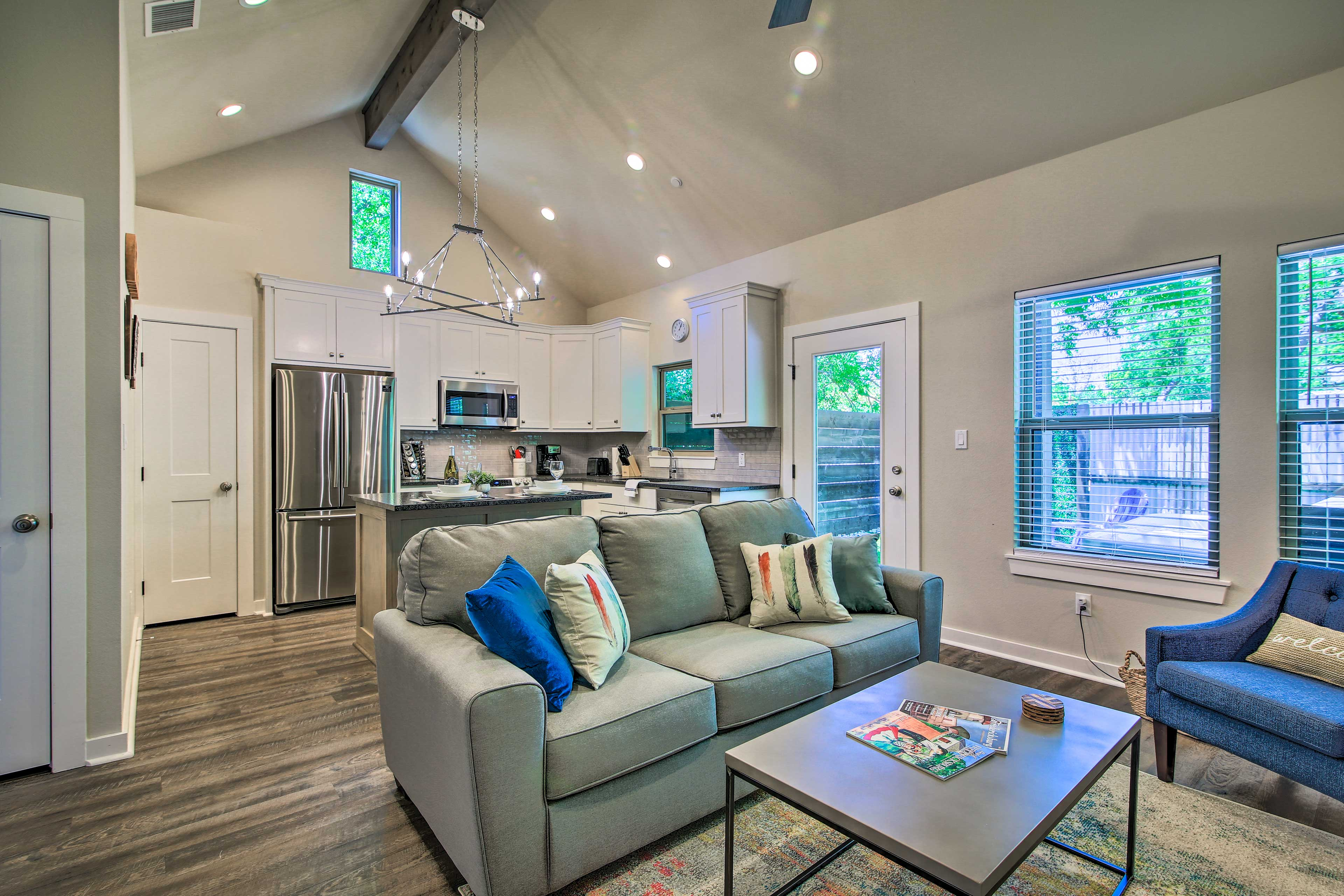 The open-concept layout fills with natural light with each sunny day.