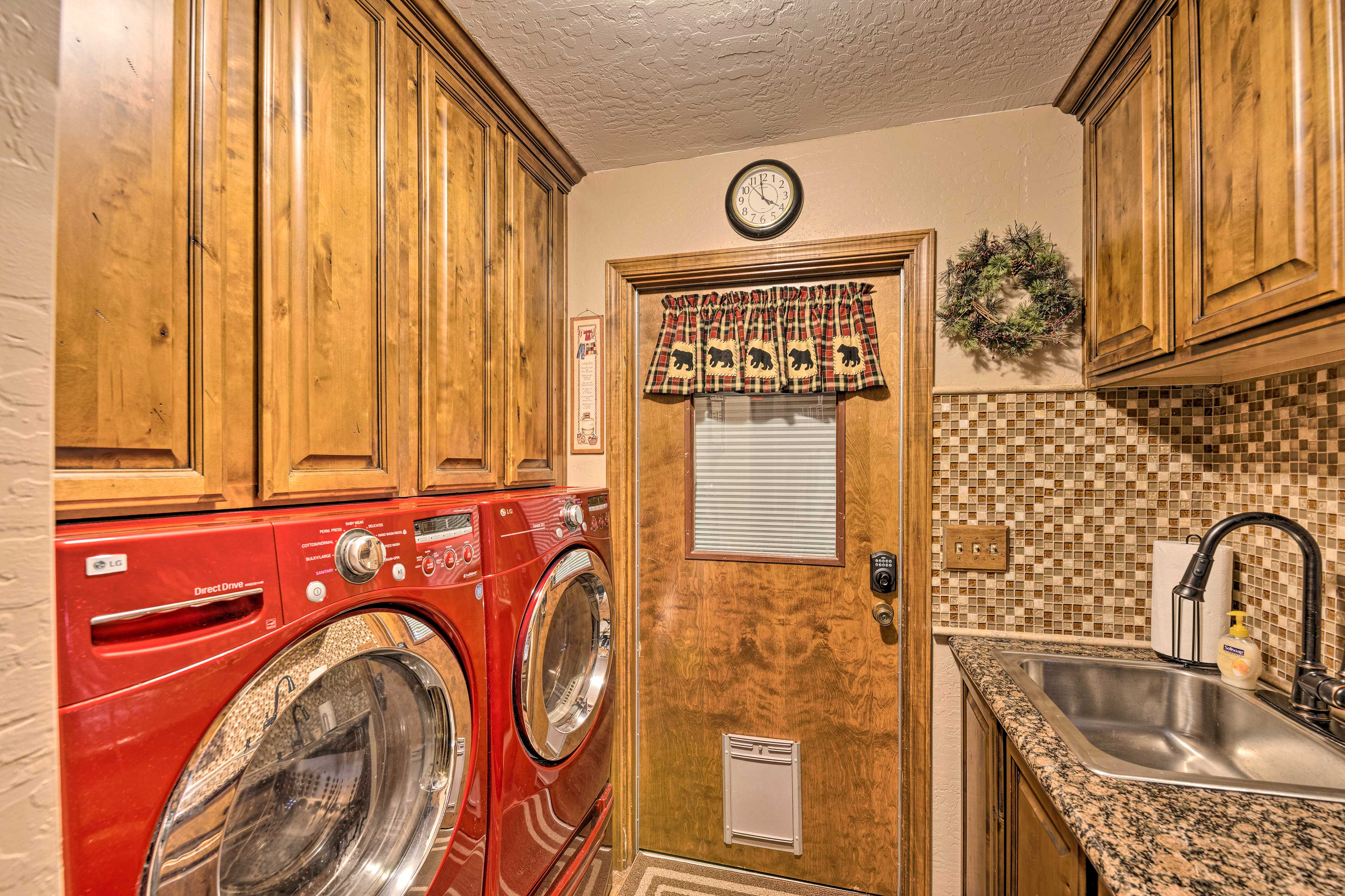 Throw in a load of laundry during your stay.
