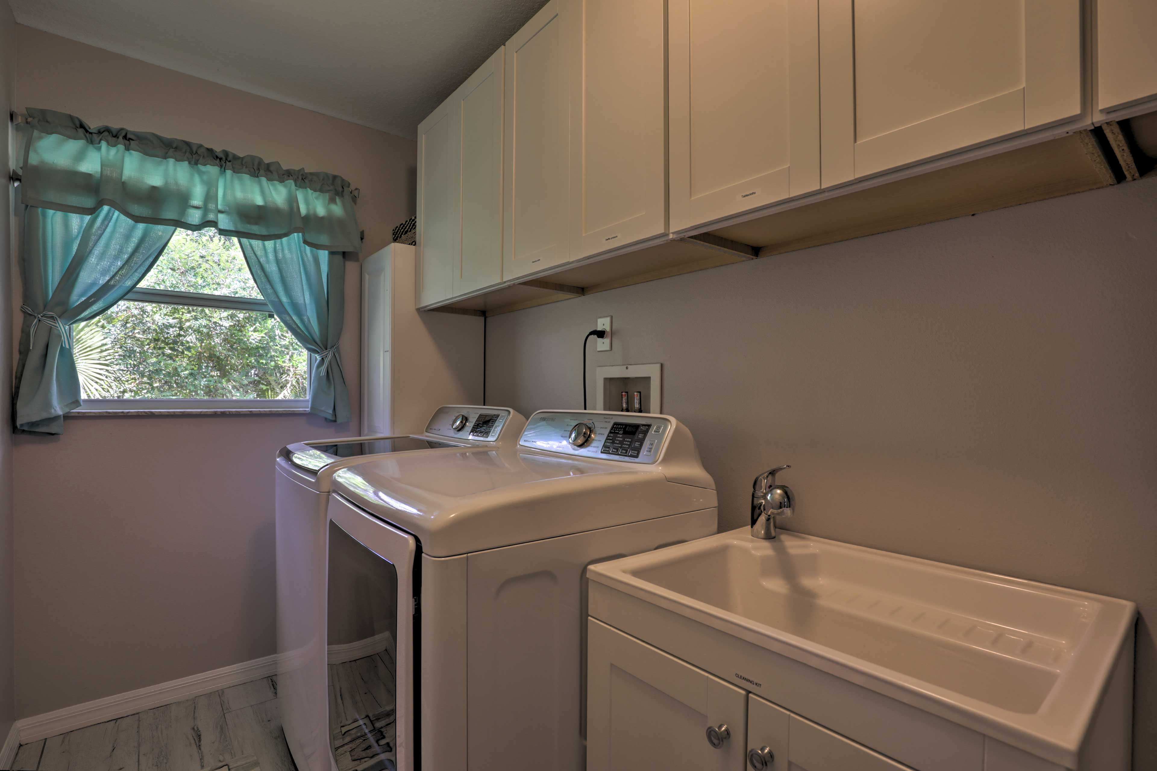 Keep all your clothes fresh and clean with the home's washer and dryer.