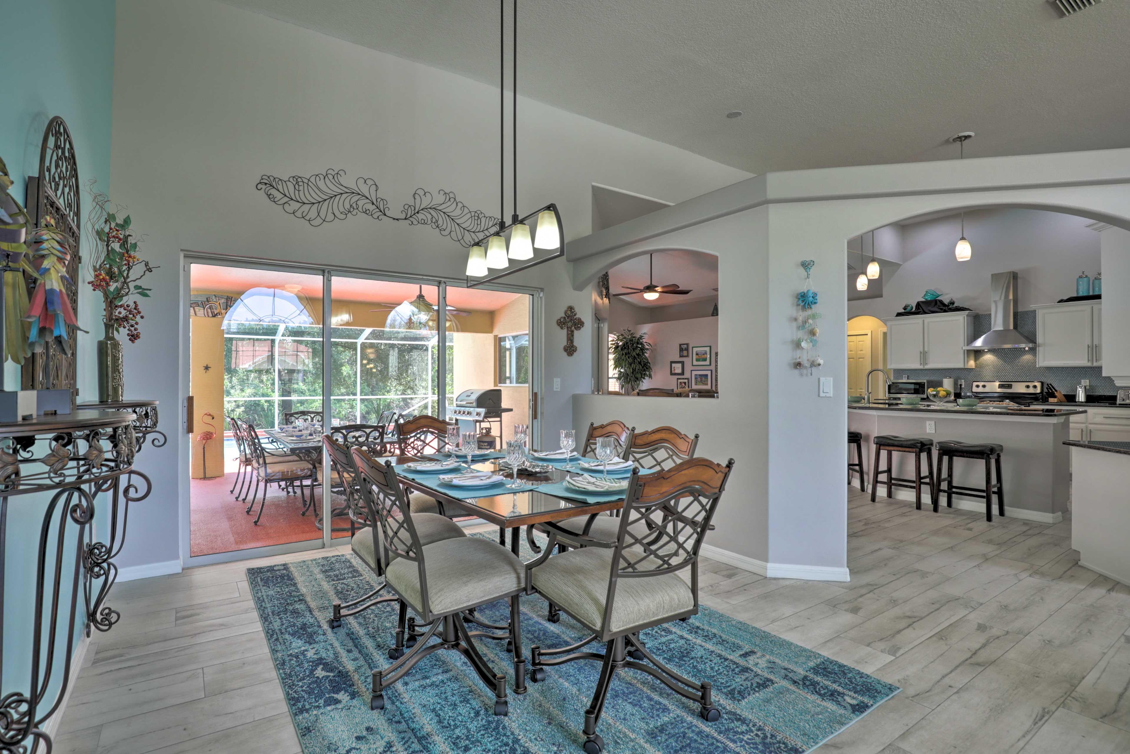 Share a family meal around the formal dining table.