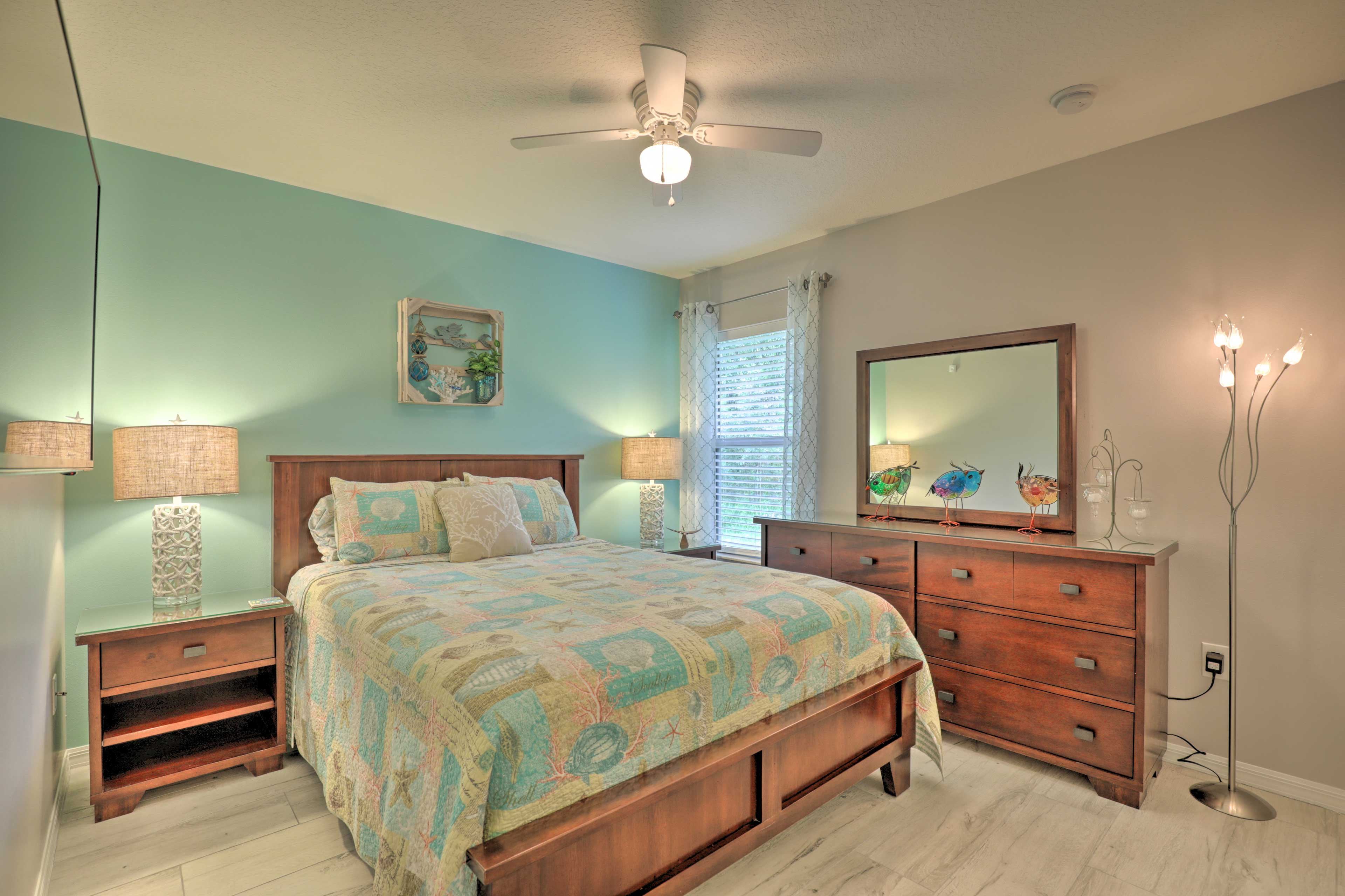The fourth bedroom is also equipped with a queen bed.