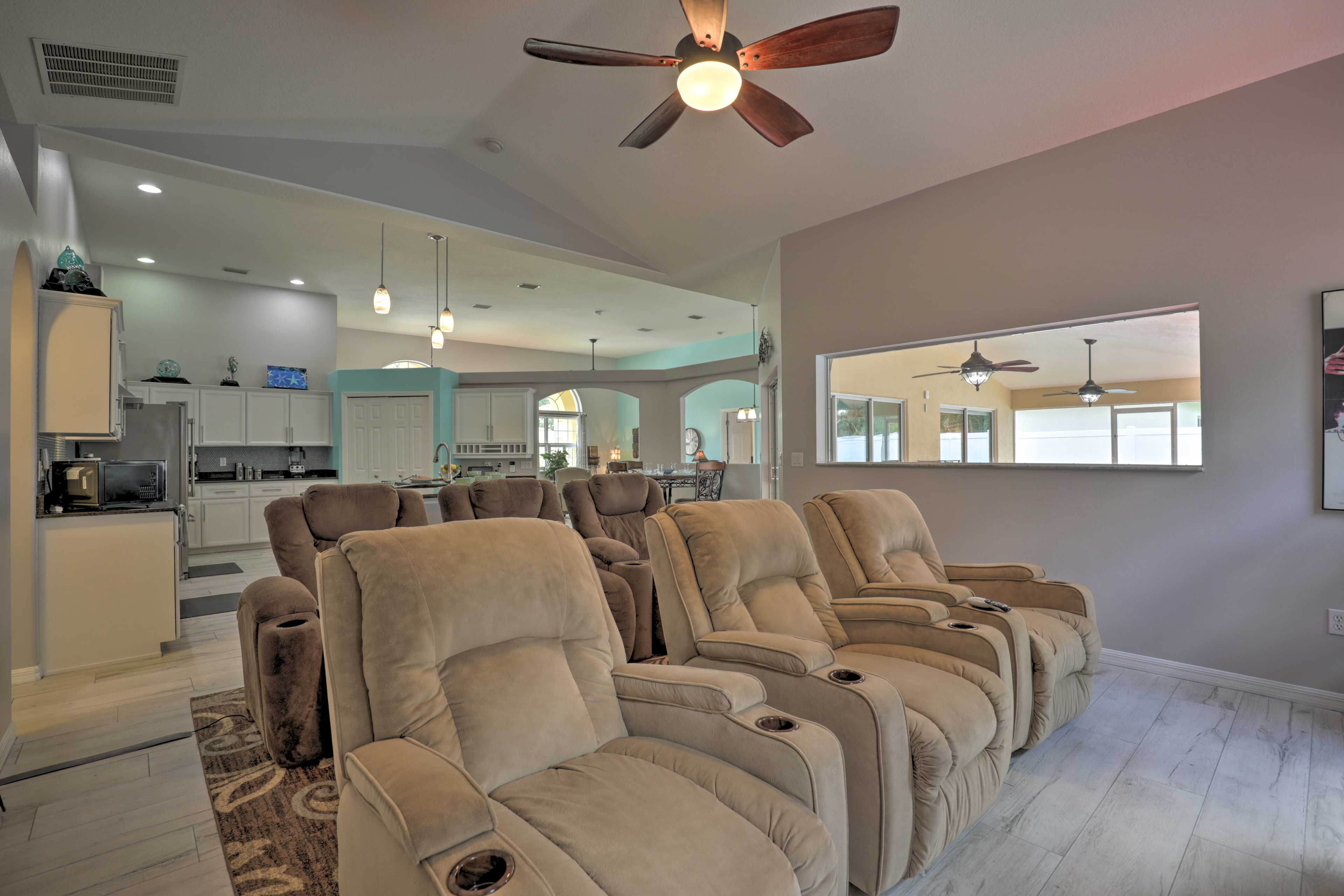 Enjoy the comfort of the electric reclining chairs.