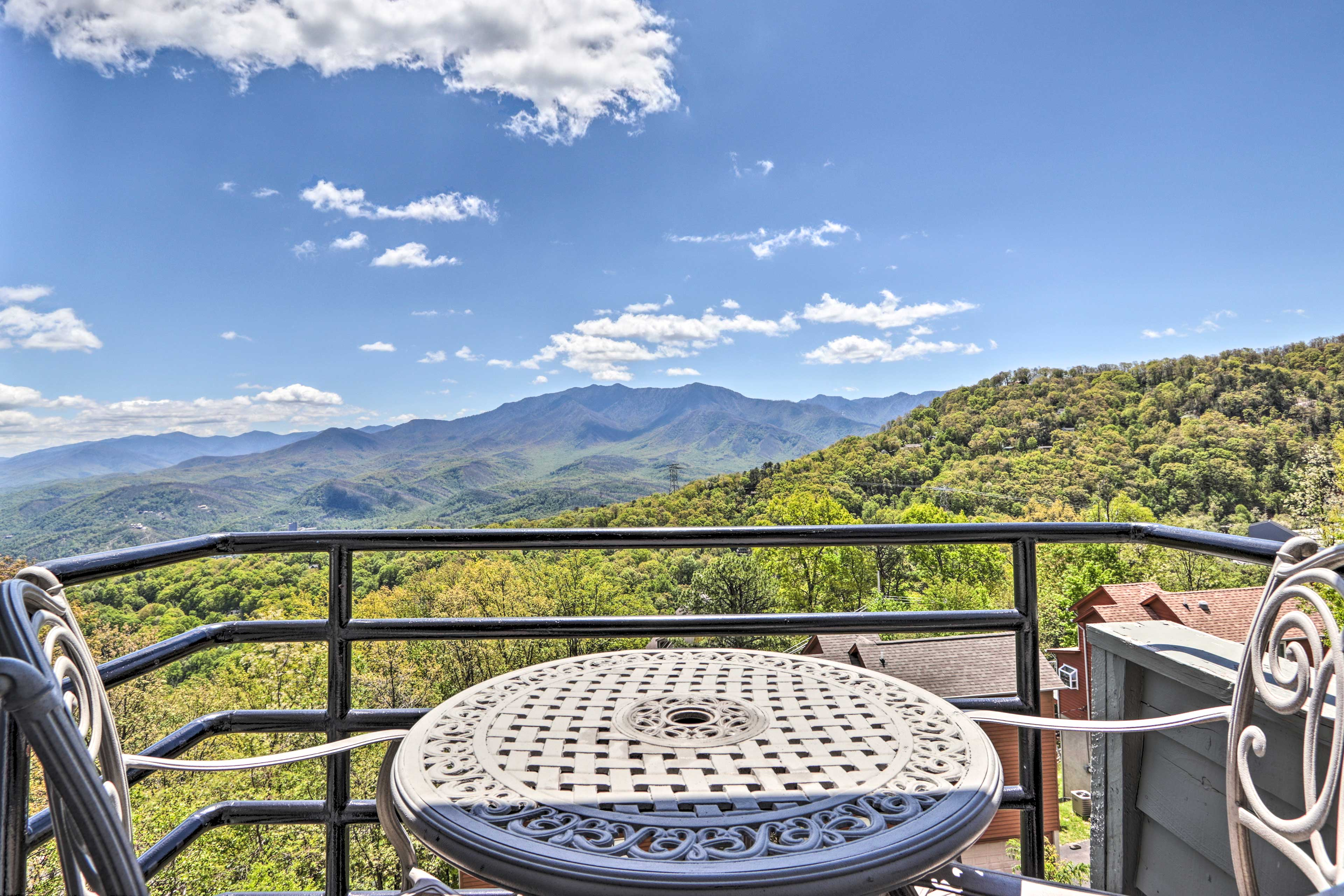 Fall in love with the mountains from this furnished balcony.