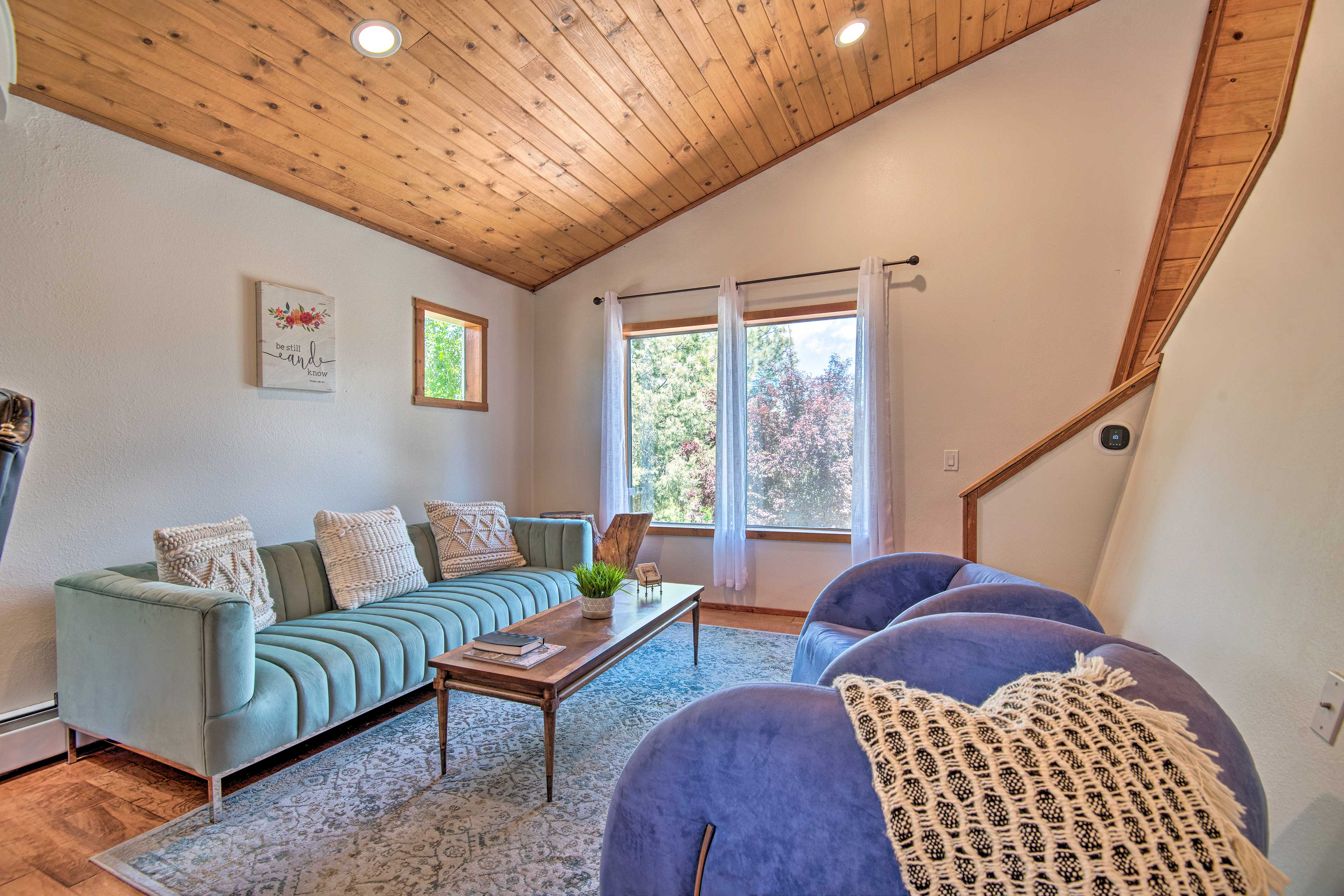 The second living area is a great place to hunker down with a good book.