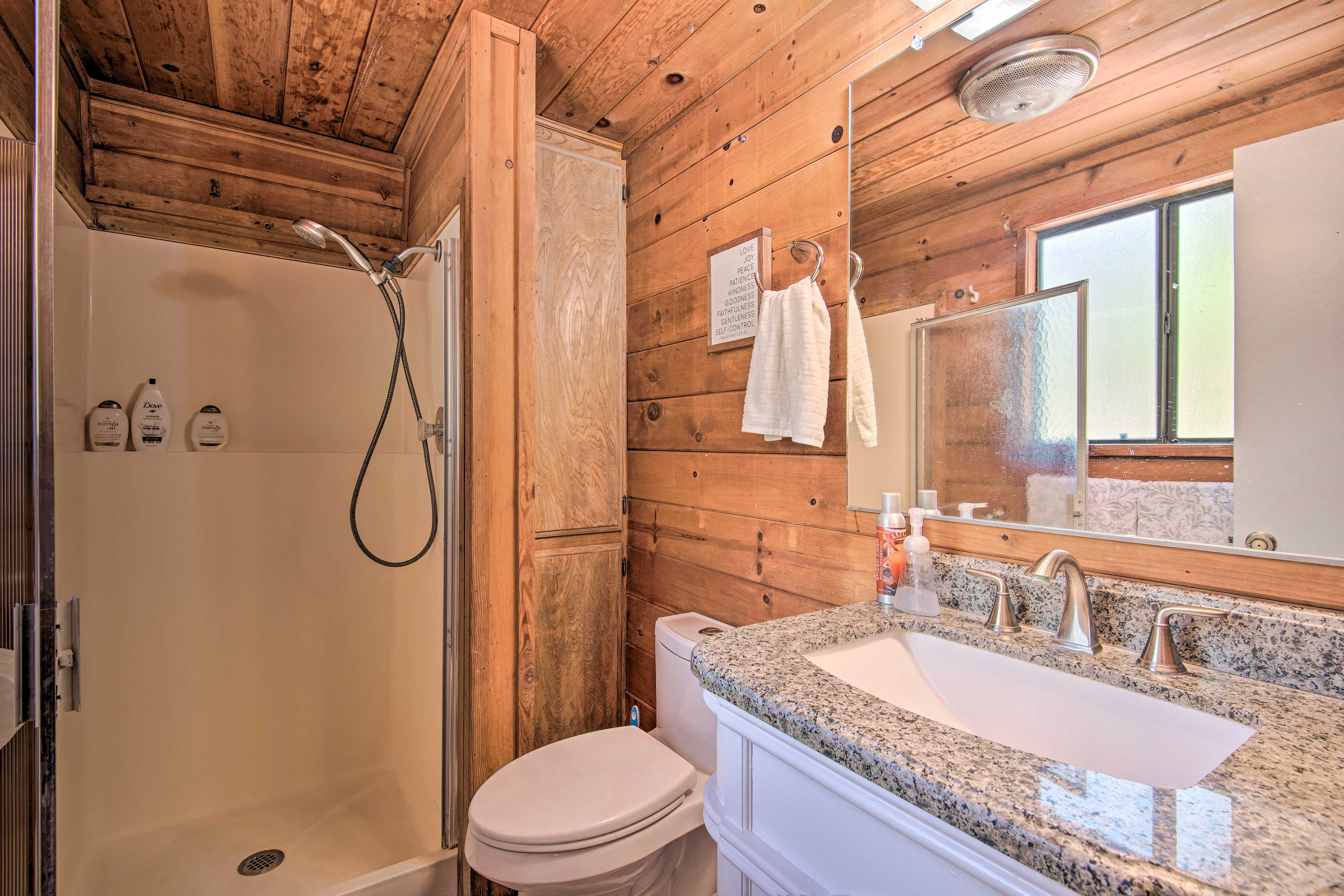 A walk-in shower is perfect for rinsing off the day's hike!