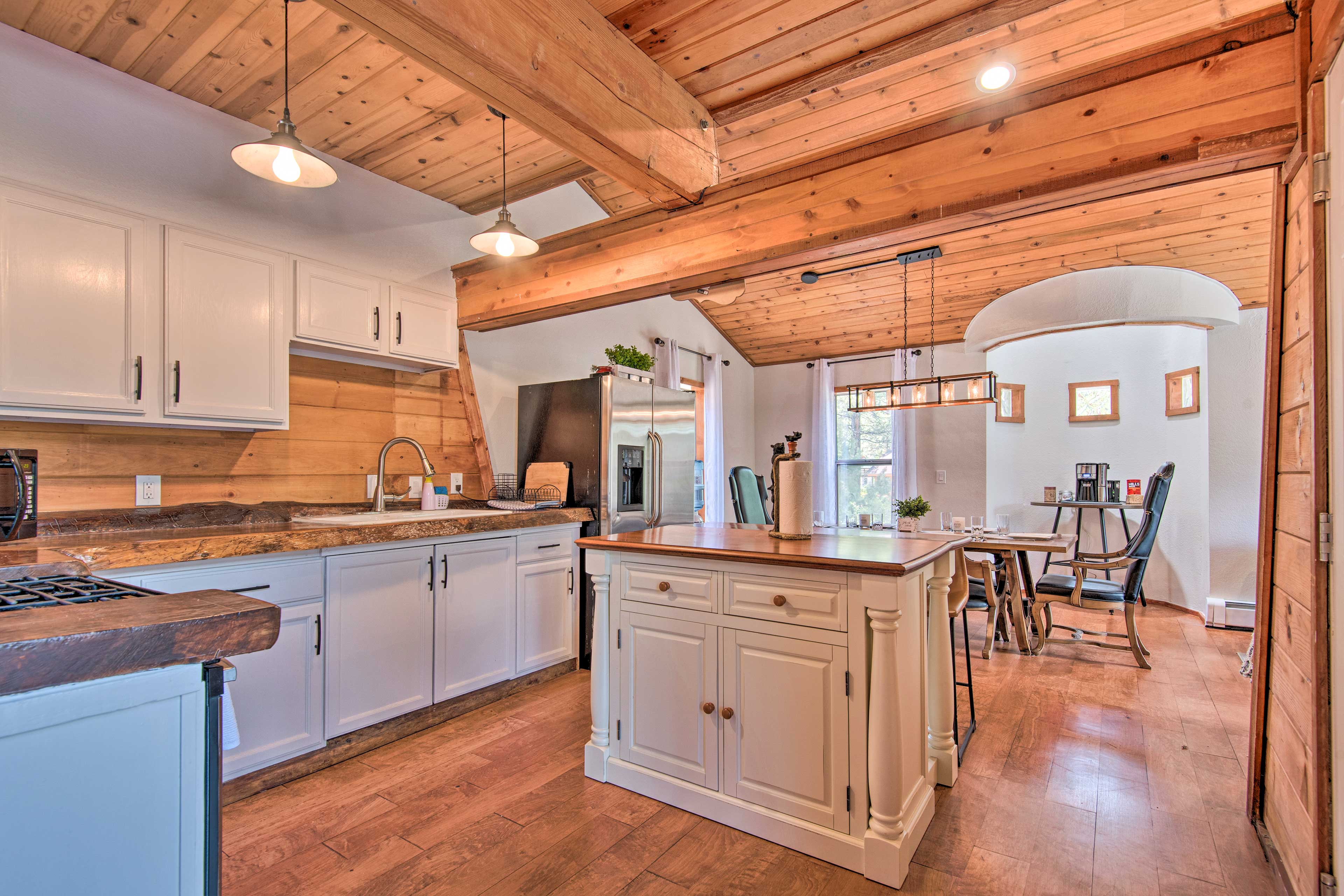 The cabin was recently renovated to feature a sleek, modern design.