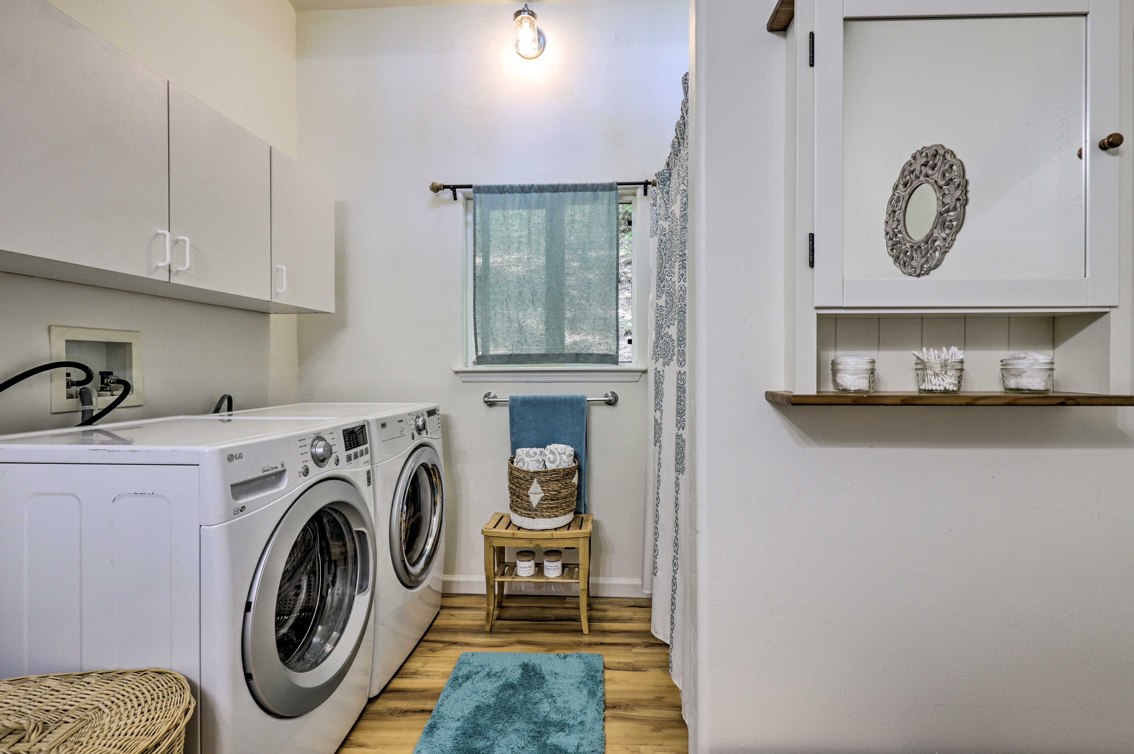 Keep your wardrobe fresh with the cabin's washer and dryer.