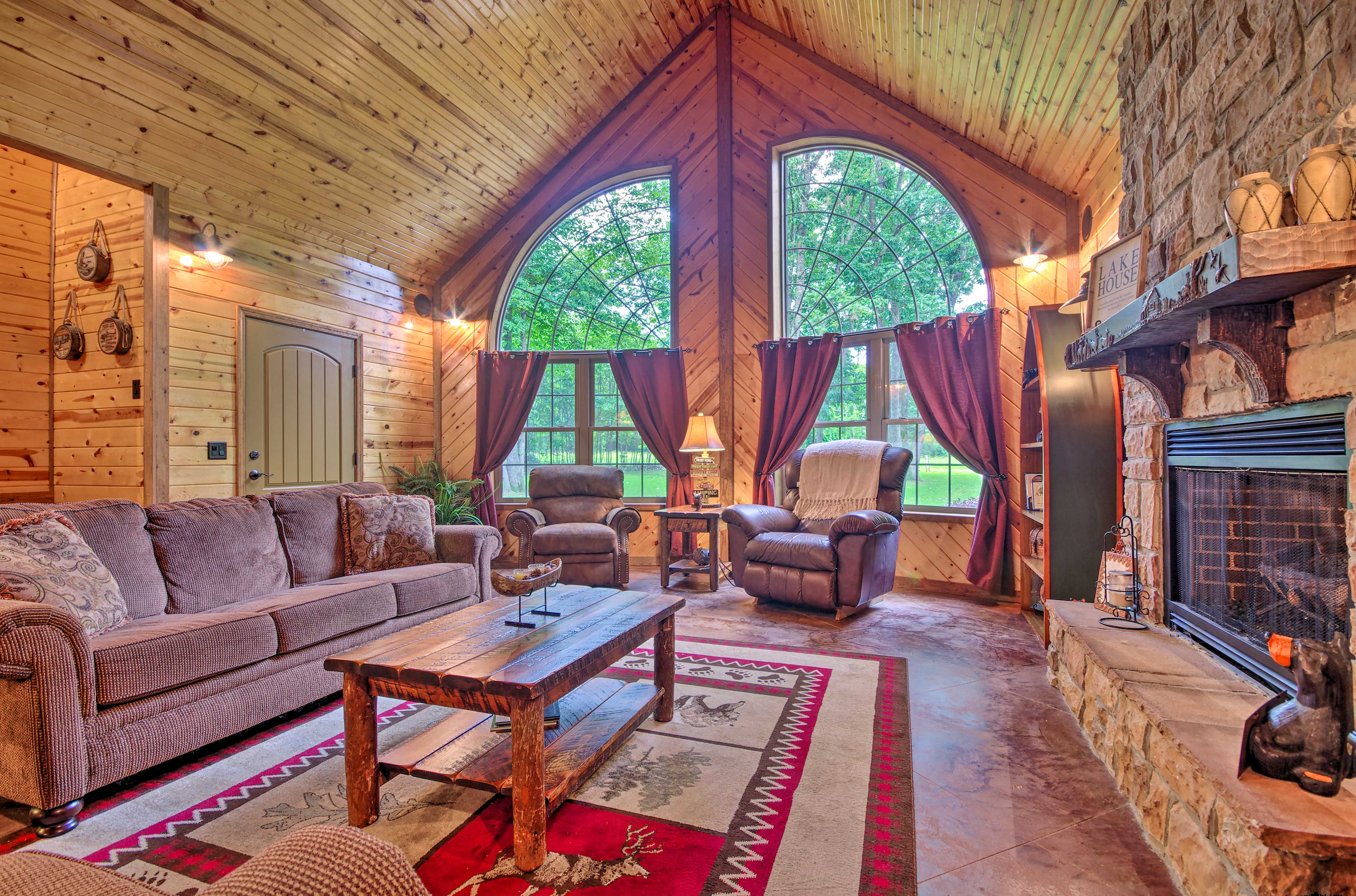 Get a view of the lush greenery while enjoying country-chic decor.