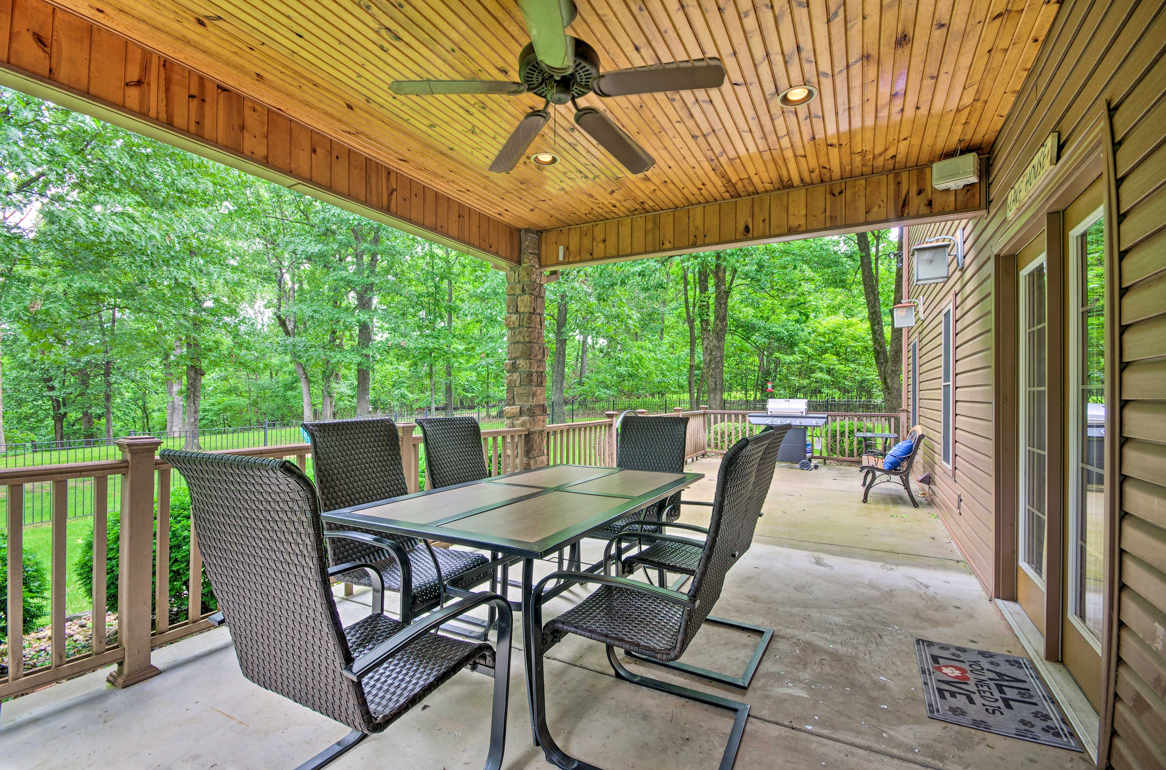 Step onto the covered deck for an evening cookout with the gas grill!