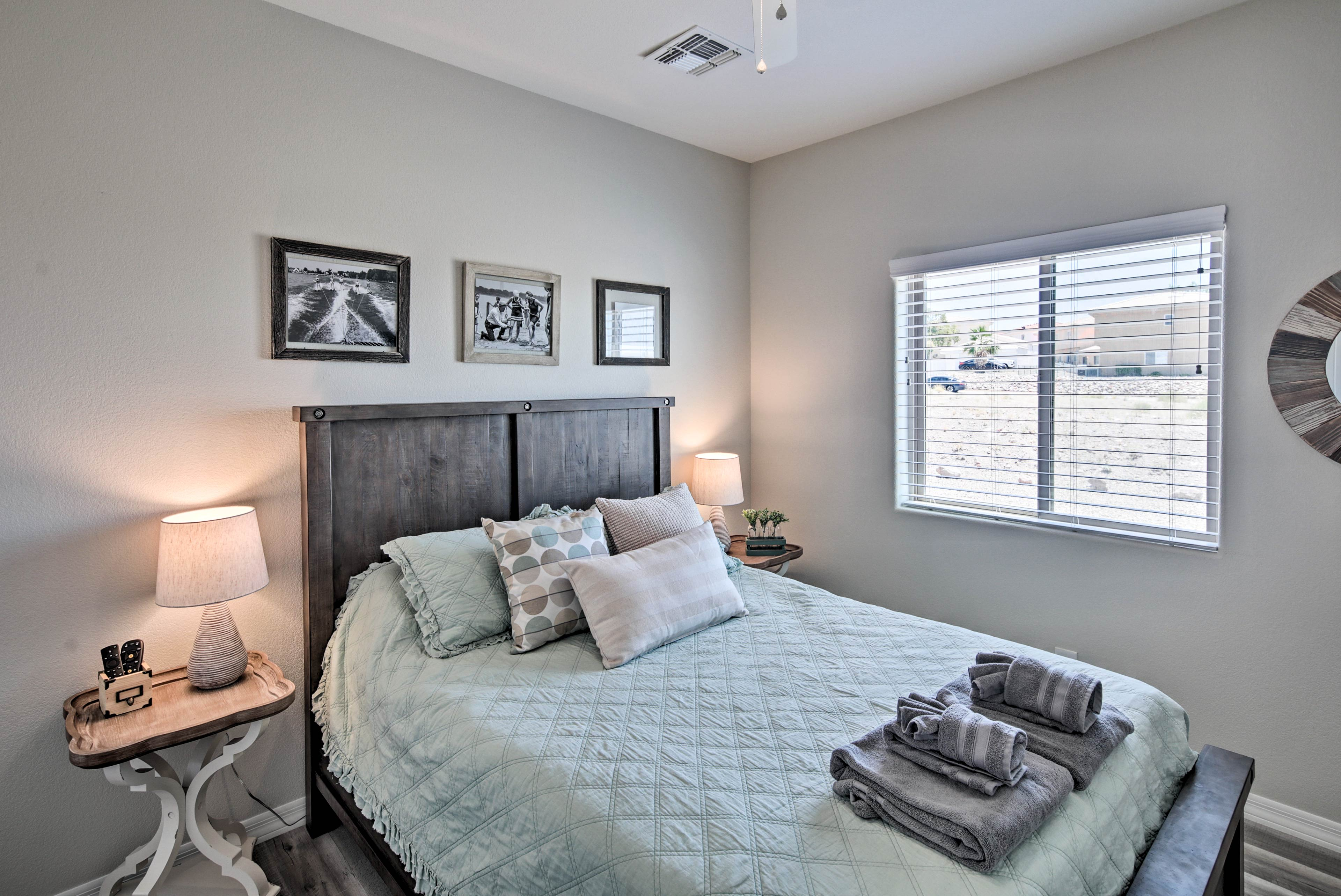 The second bedroom features a queen-sized bed.
