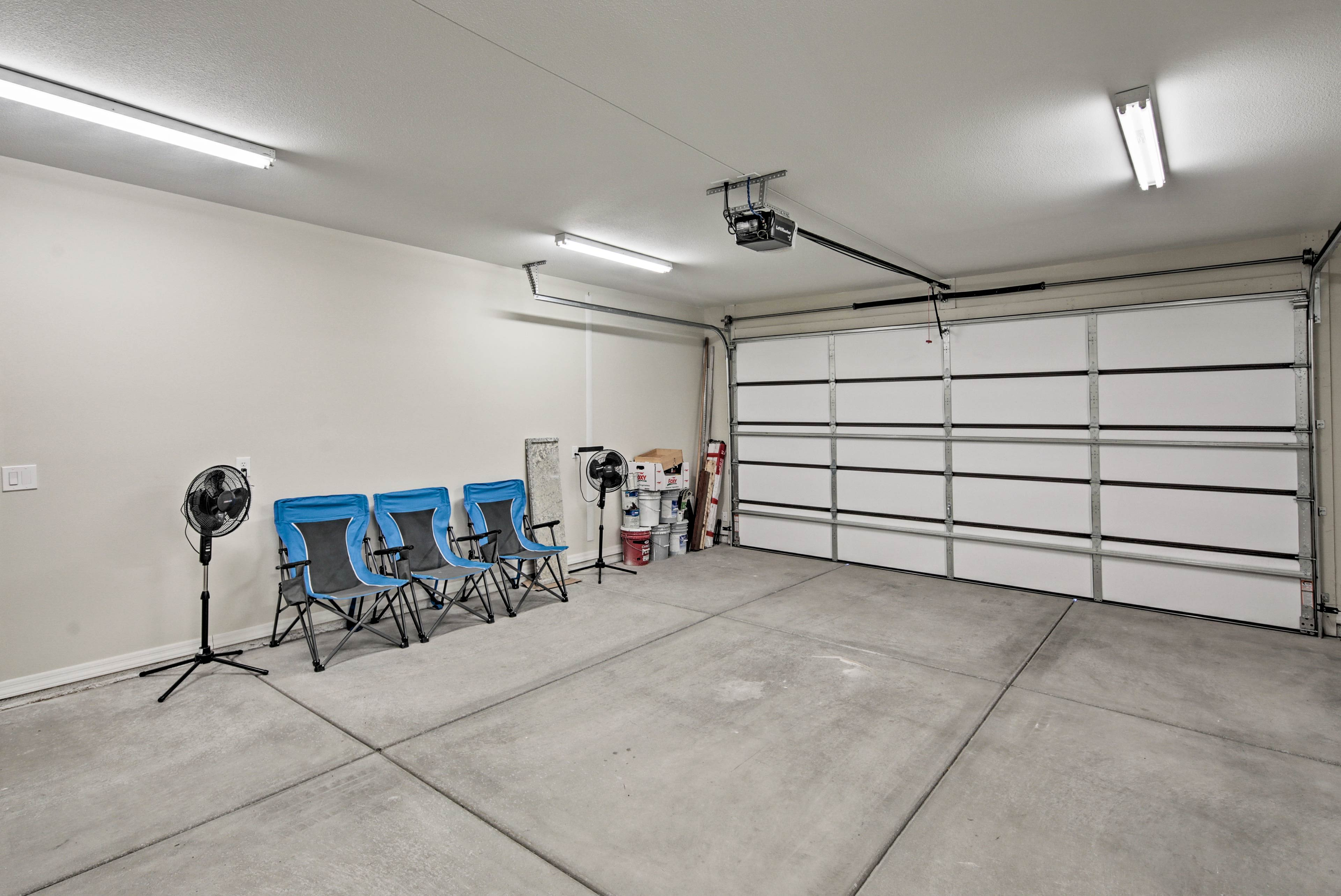 Up to 2 vehicles can park in the garage
