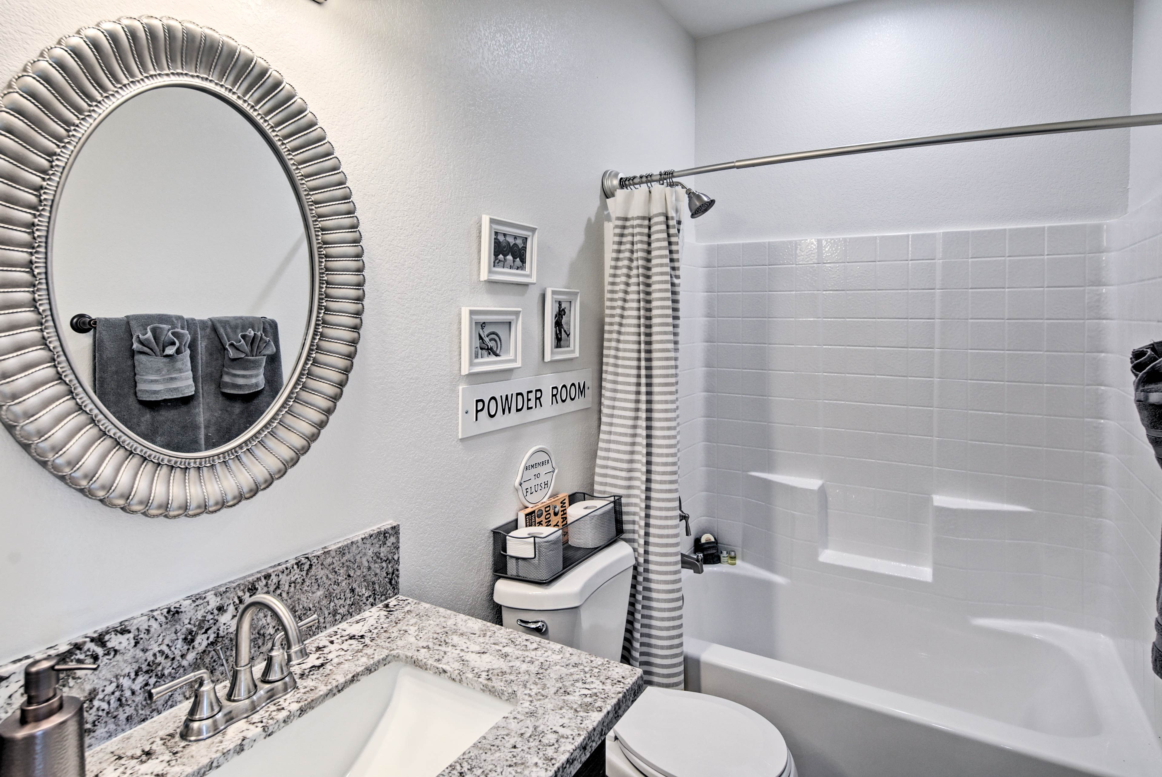 Take a long soak in the second bathroom's shower/tub combo!