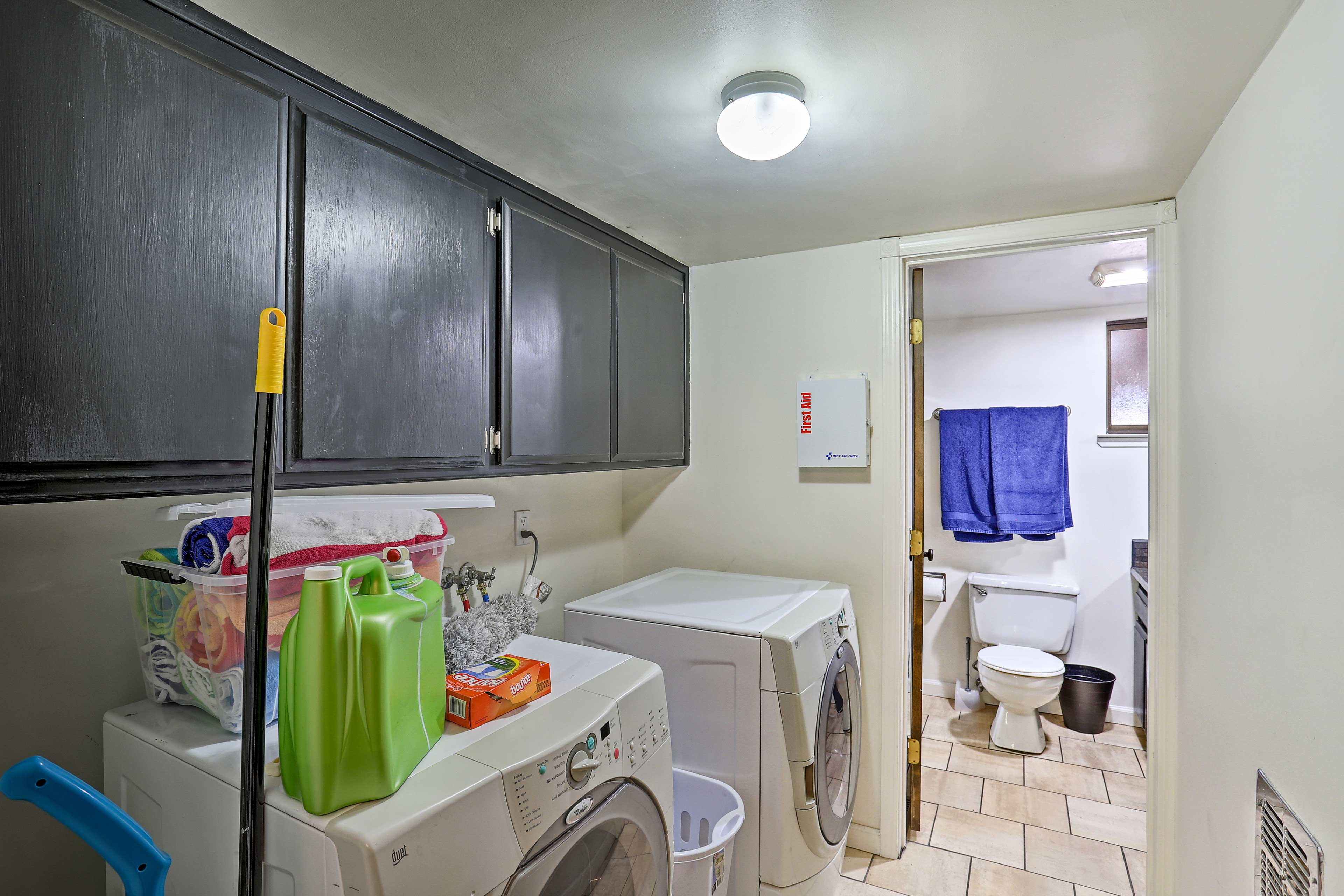 This home has a washer/dryer to keep your clothes fresh.
