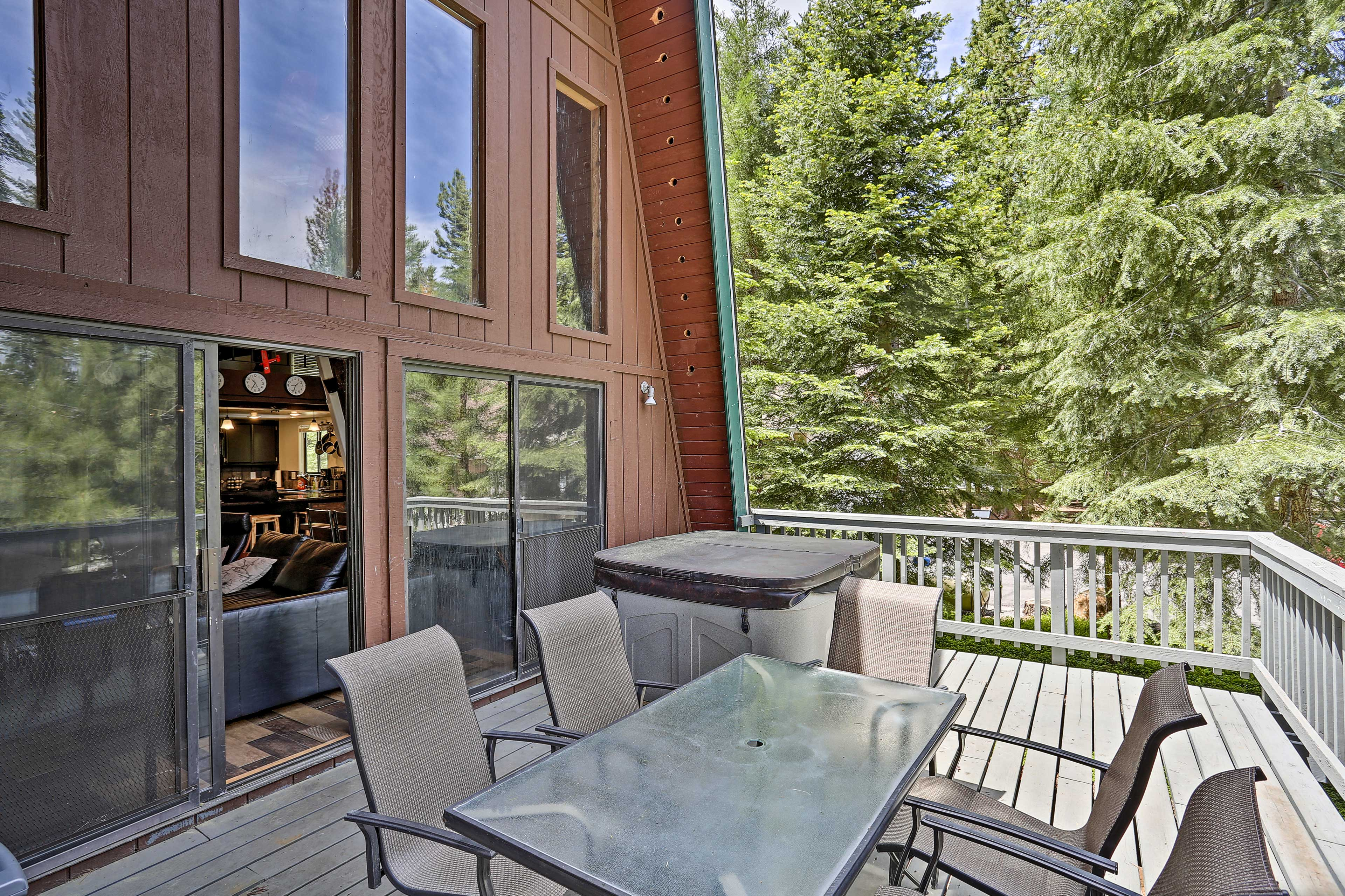 The deck is surrounded by tall pines for privacy.